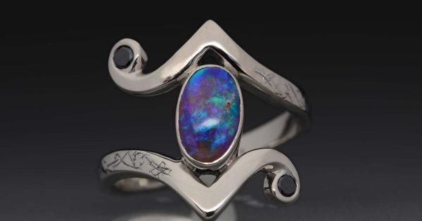 14k Palladium White Gold Ring With Opal And Black Diamond