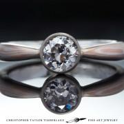Mokume gane engagement ring - Mokumé gane diamond engagement ring with 14K karat rose gold and sterling silver and bezel set diamond solitaire ring