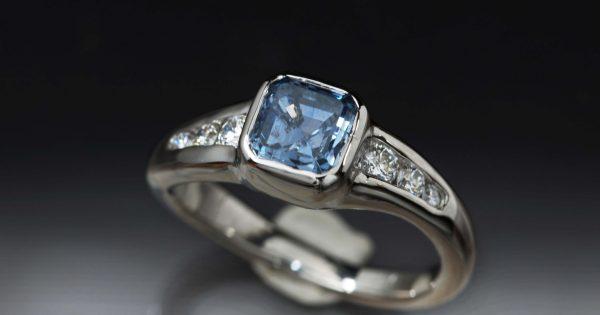 14K Palladium White Gold Engagement Ring with Custom Stones Sapphire and Dia
