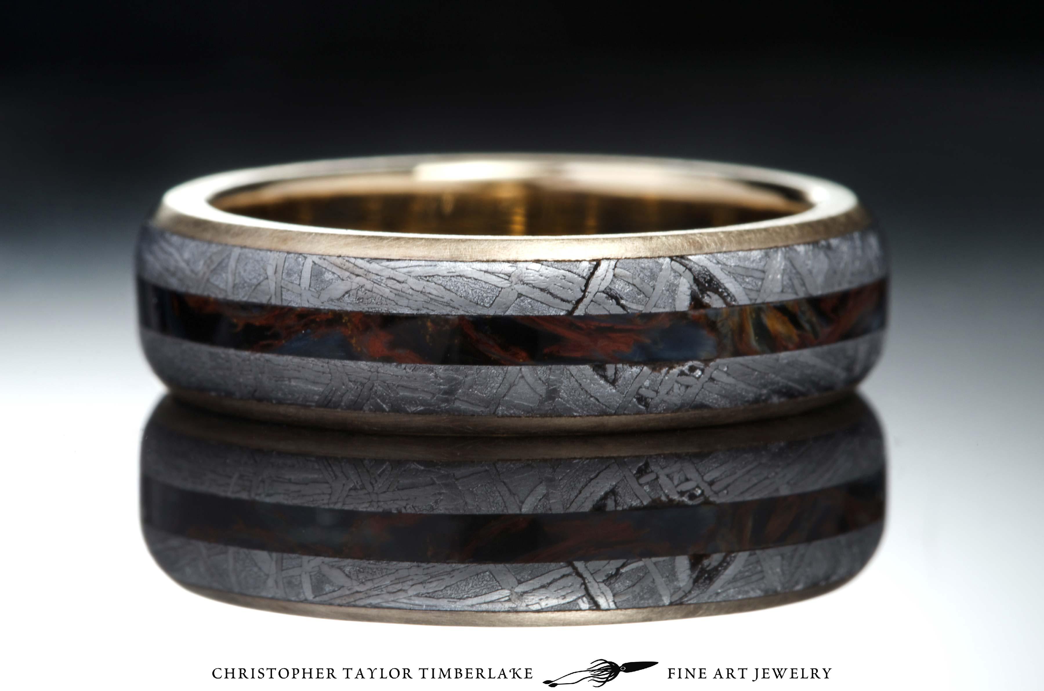 Meteorite And 10k Yellow Gold Ring With Pietersite Inlay