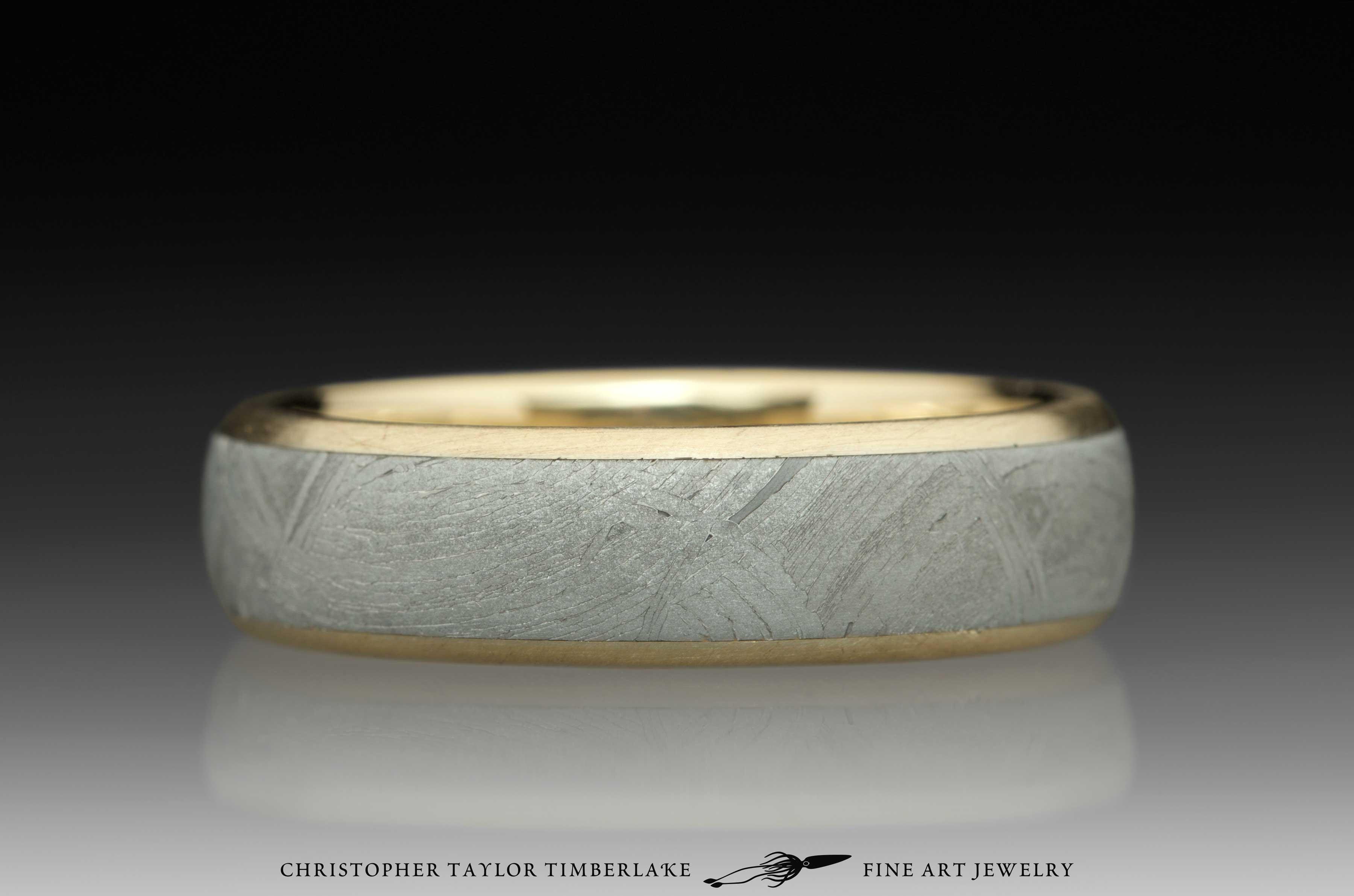Meteorite-14K-karat-yellow-gold-ring,-domed,-etched,-(.75-4.5-.75)-6mm,-14K-yellow-gold-rims-1