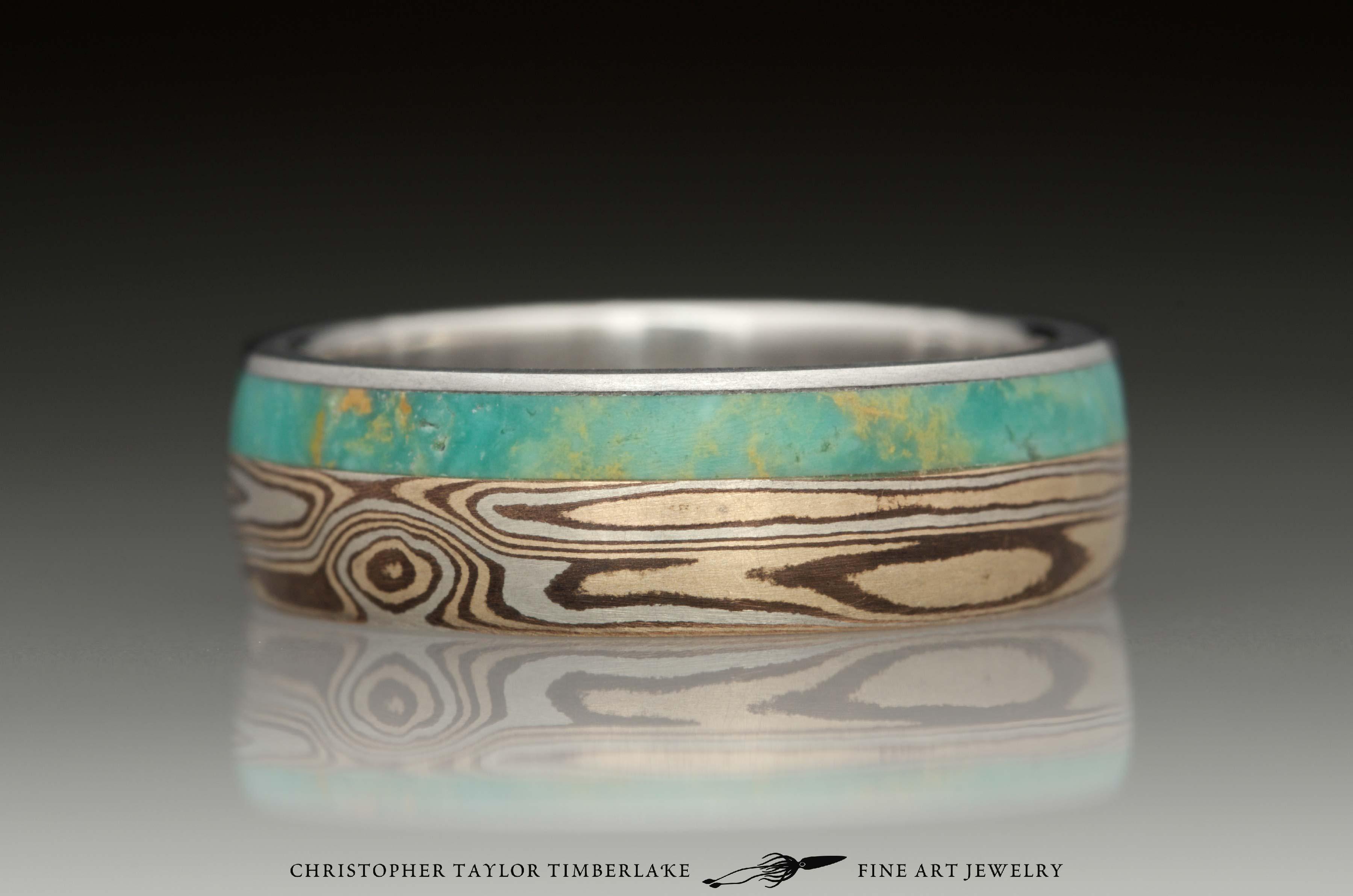 Mokumé-Mokume-Gane-Ring-(M90)-sterling-silver,-shakudo-2k,-kogane-3k,-green-turquoise-inlay-(4-2mm),-stainless,-domed,-woodgrain,-6mm-1