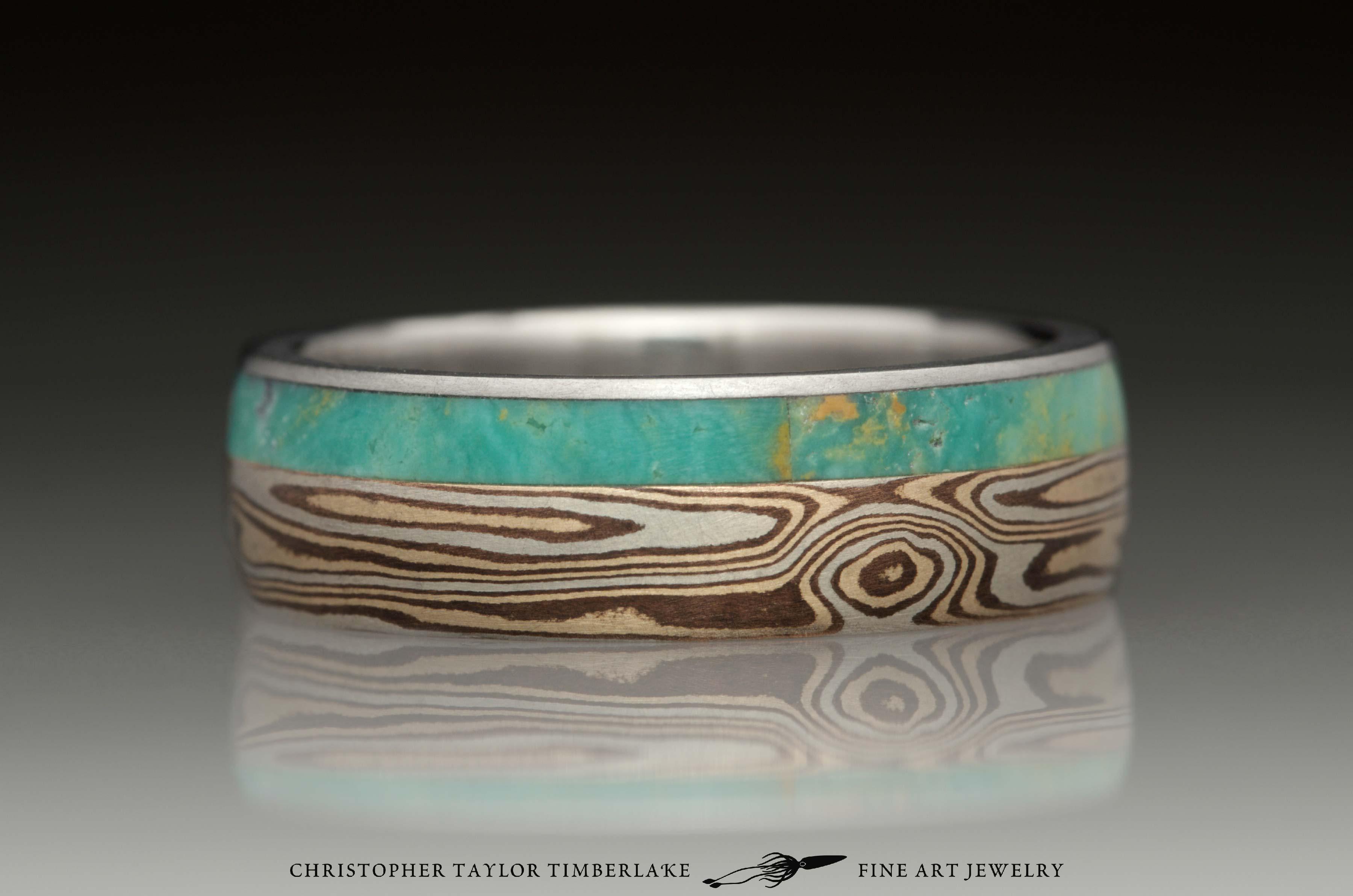 Mokumé-Mokume-Gane-Ring-(M90)-sterling-silver,-shakudo-2k,-kogane-3k,-green-turquoise-inlay-(4-2mm),-stainless,-domed,-woodgrain,-6mm-4