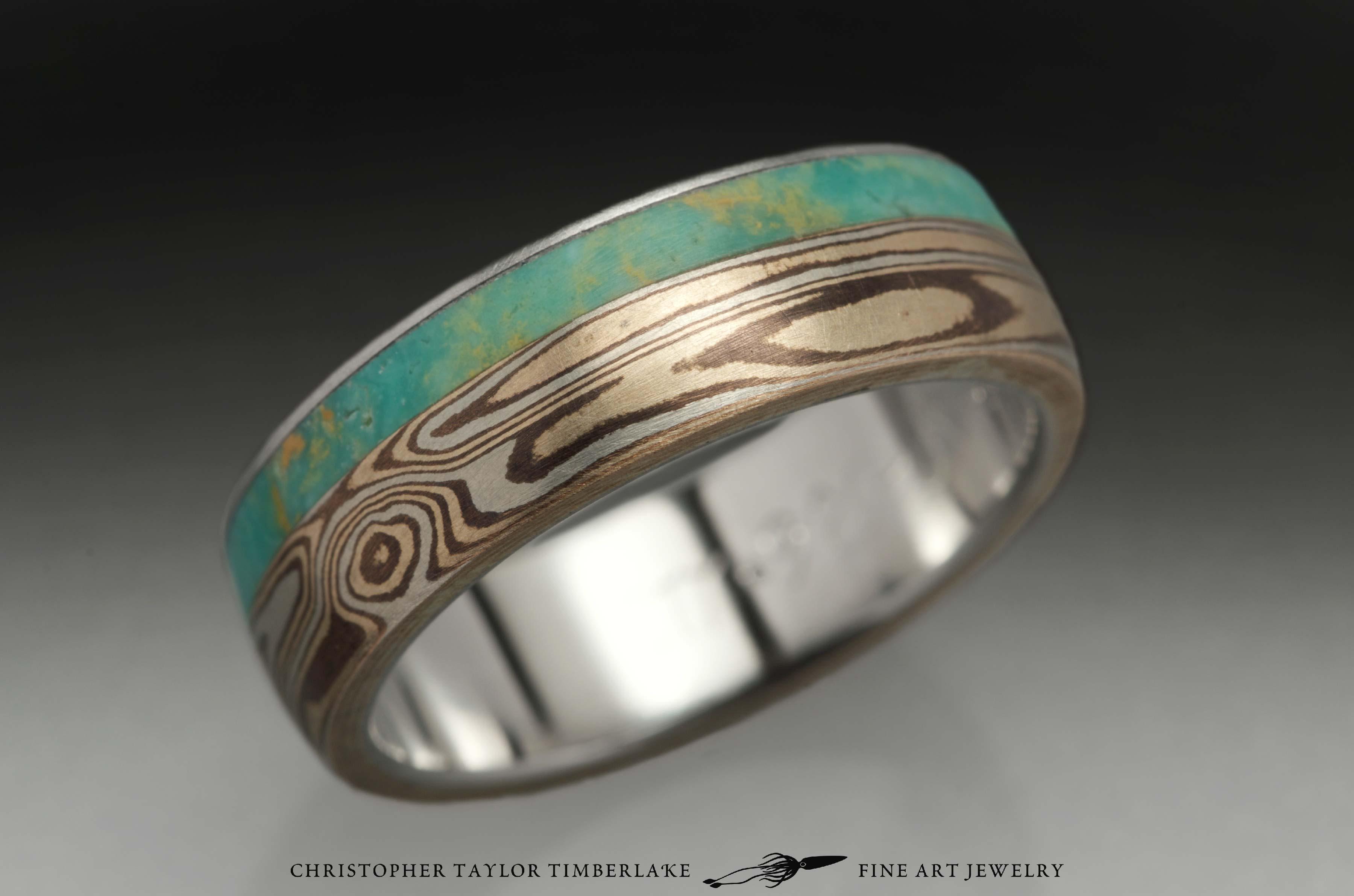 Mokumé-Mokume-Gane-Ring-(M90)-sterling-silver,-shakudo-2k,-kogane-3k,-green-turquoise-inlay-(4-2mm),-stainless,-domed,-woodgrain,-6mm-5