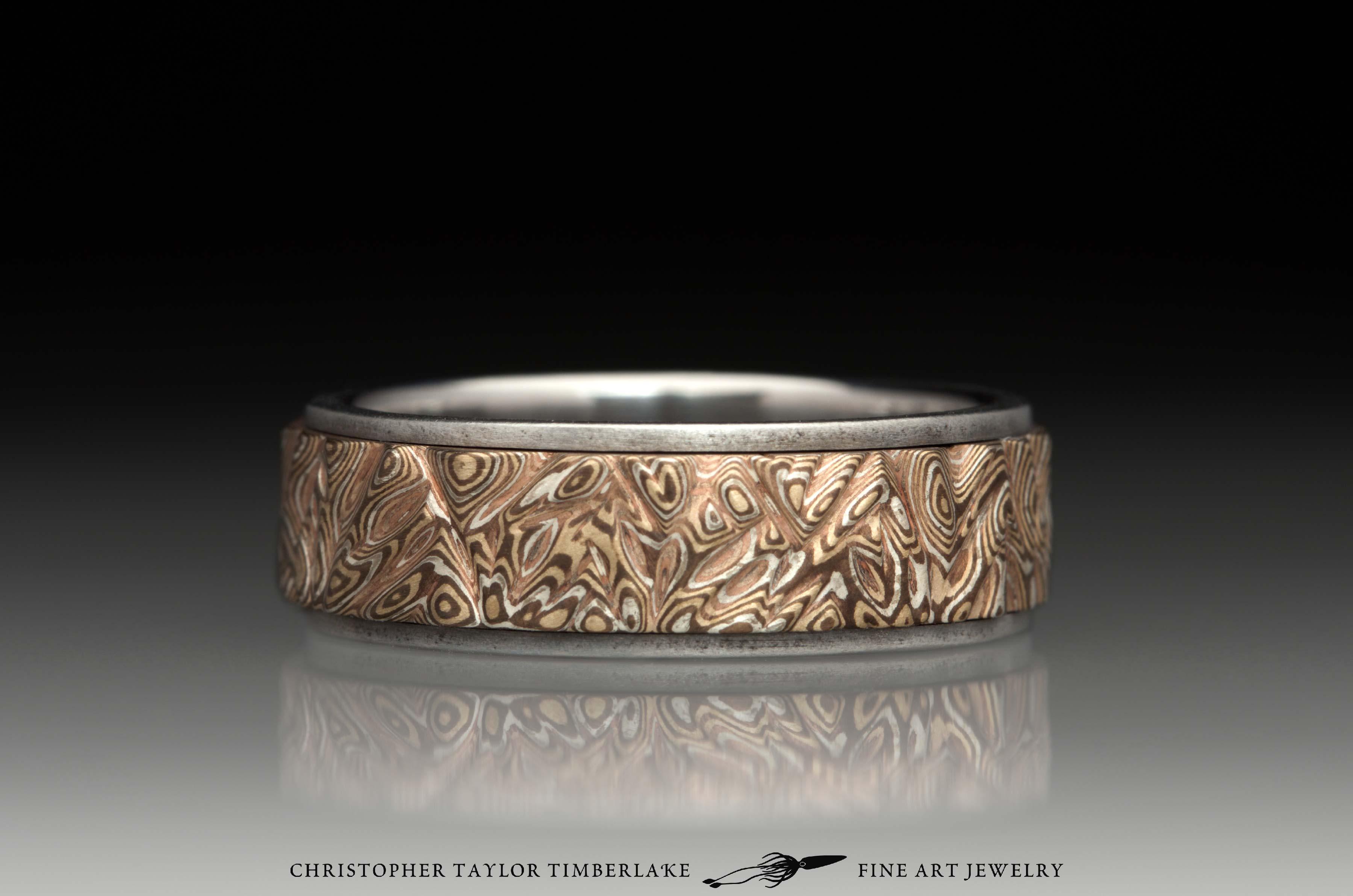 Mokumé-Mokume-Gane-Ring-M90-sterling-silver,-shakudo,-kogane,-stainless-steel-band,-oxidized,-flat-topped,-(1-5-1)-7mm-2