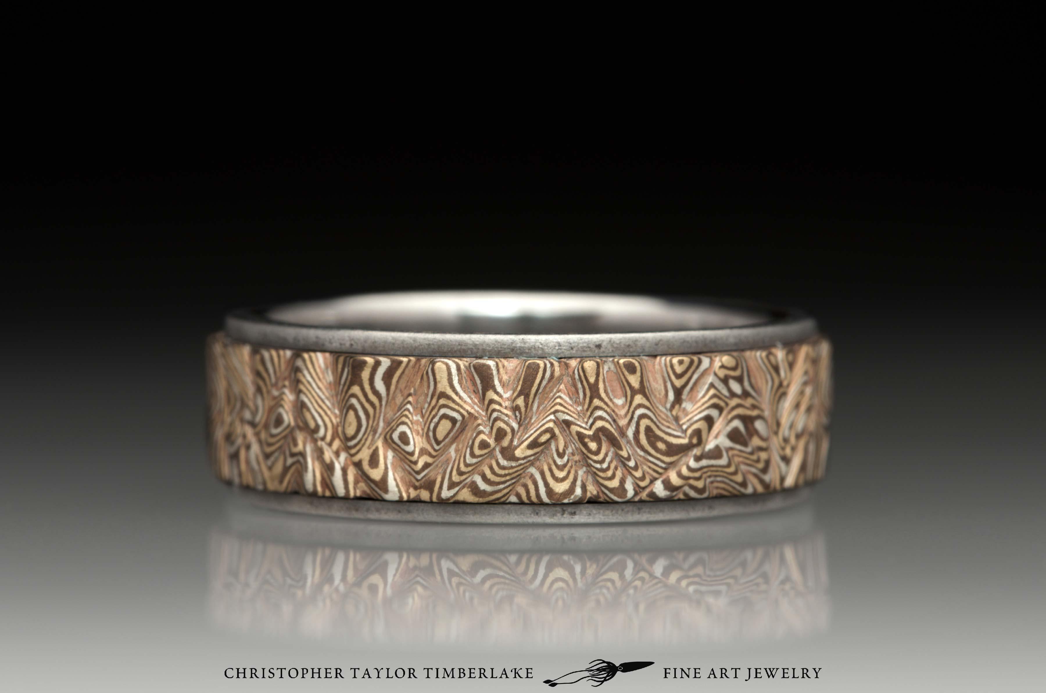 Mokumé-Mokume-Gane-Ring-M90-sterling-silver,-shakudo,-kogane,-stainless-steel-band,-oxidized,-flat-topped,-(1-5-1)-7mm-4