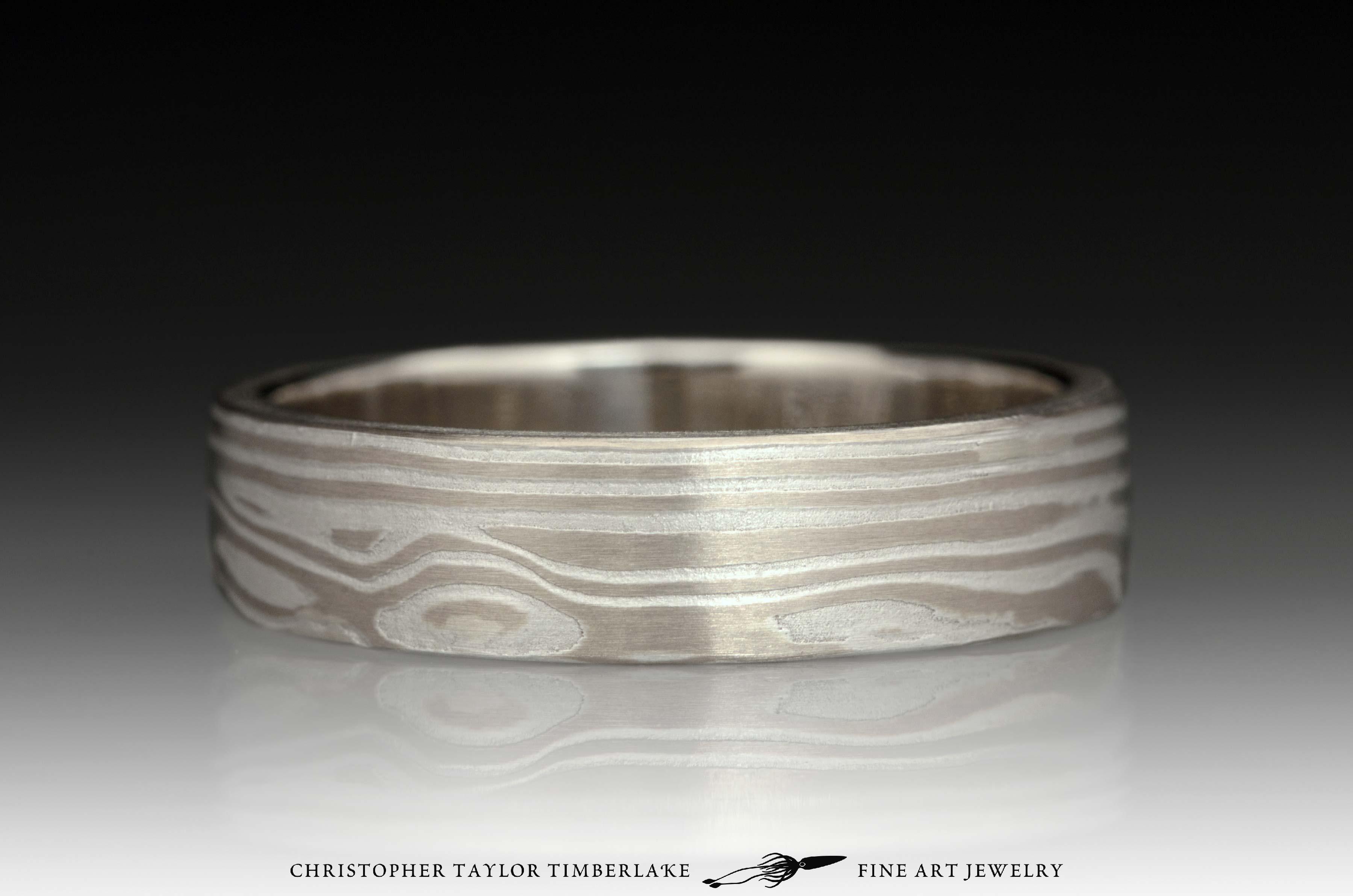 Mokumé-Mokume-Gane-Ring-(M92)-14K-karat-palladium-white-gold,-sterling-silver,-14k-white-gold-inner-band,-etched,-flat-topped,-wood-grain-4