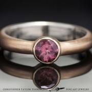 Mokume gane engagement ring - Mokumé gane pink tourmaline engagement ring 14K karat rose gold 10K yellow gold solitaire bezel set stone