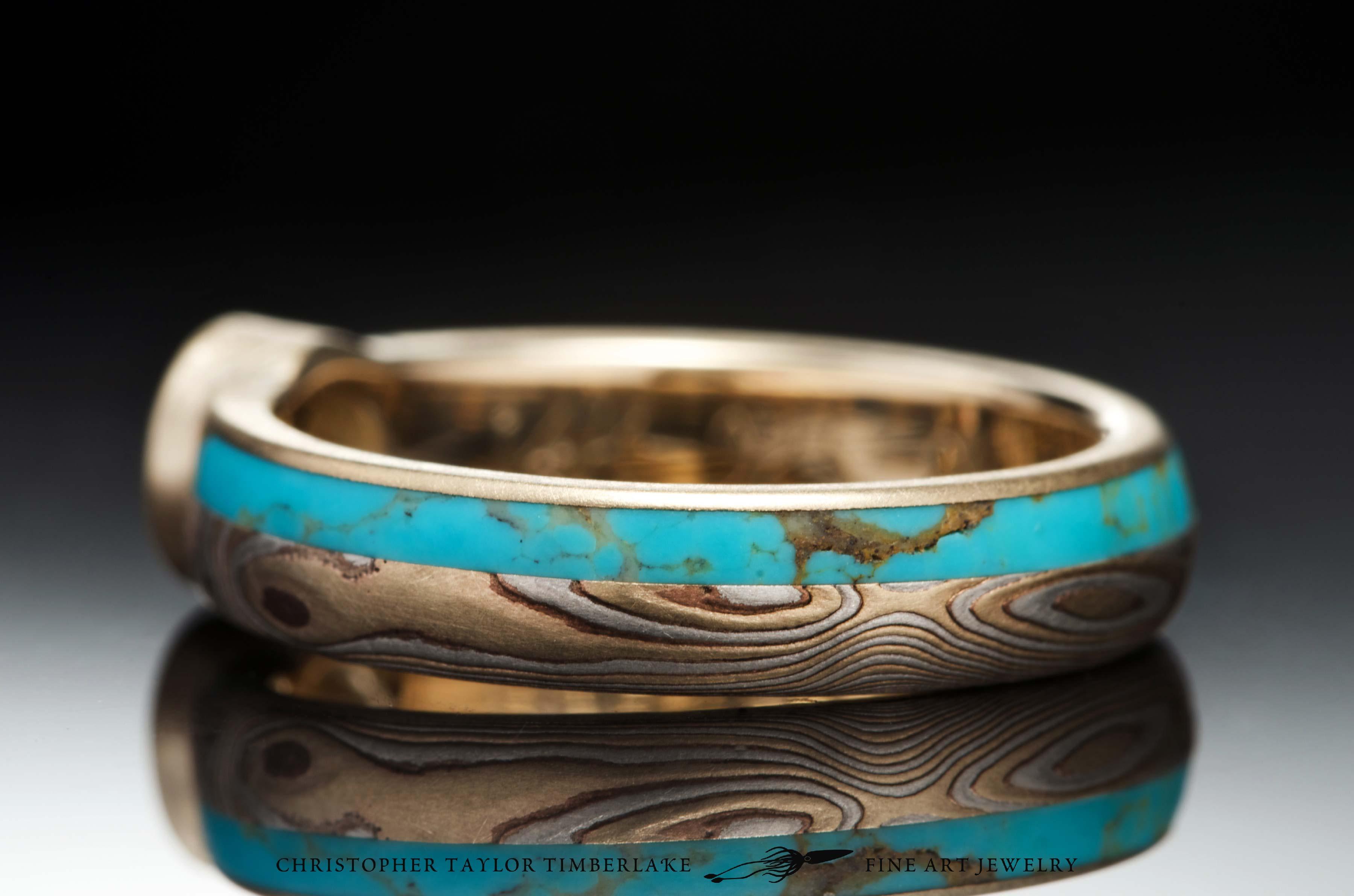 Mokume-(M77)-14K-karat-Yellow-Gold,-Shakudo,-Sterling-Silver,-etched,-woodgrain,-turquoise-inlay-(2.5_1.5)-0.50CT-RD-E-SI2-5,09×5,11mm-diamond-5