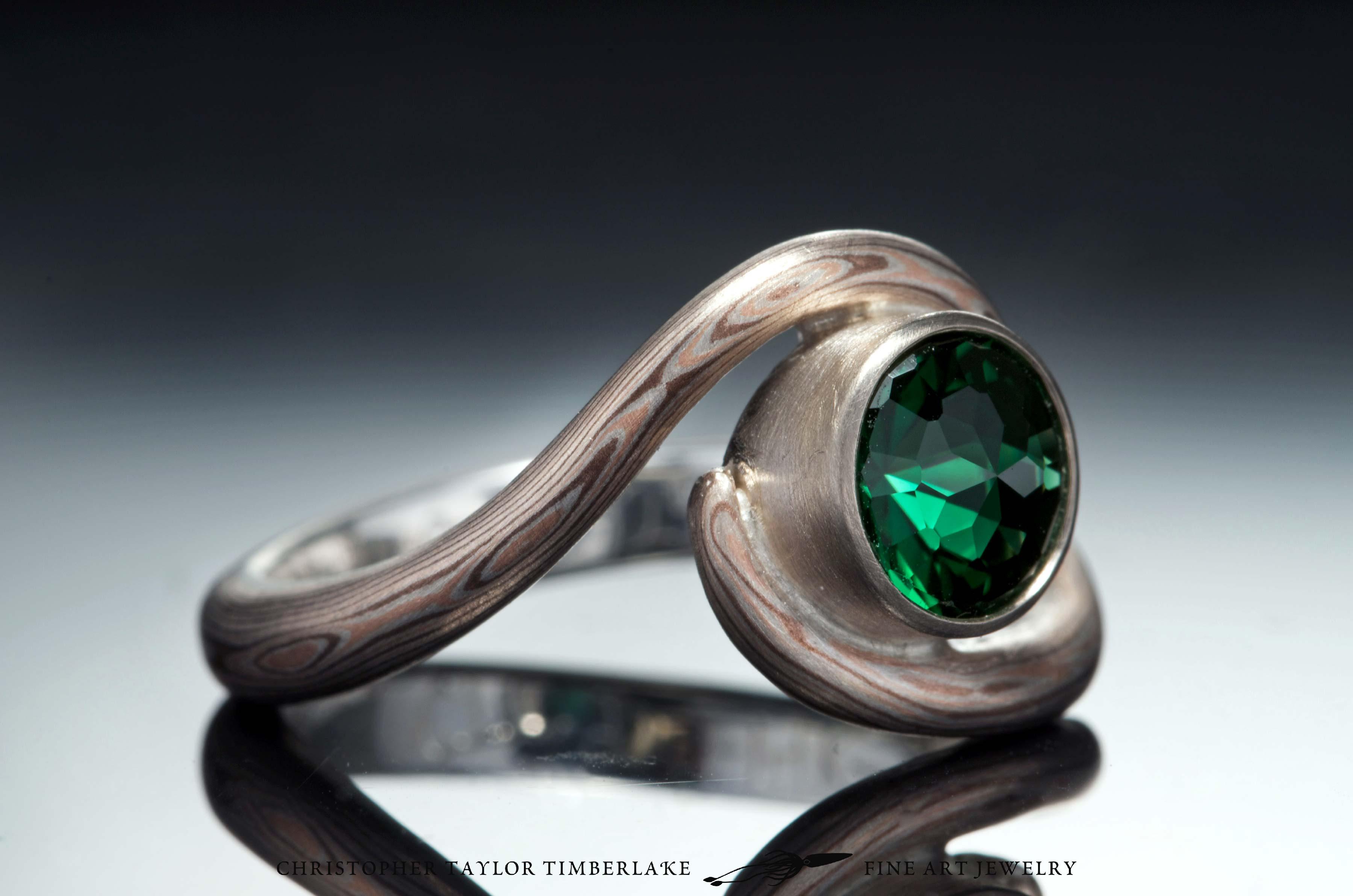 Mokume-(m81)-14-Karat-rose-gold,-shakudo-(2K),-and-sterling-silver-with-Palladium-and-6,31mm-modified-rose-cut-round-chrome-green-tourmaline-2