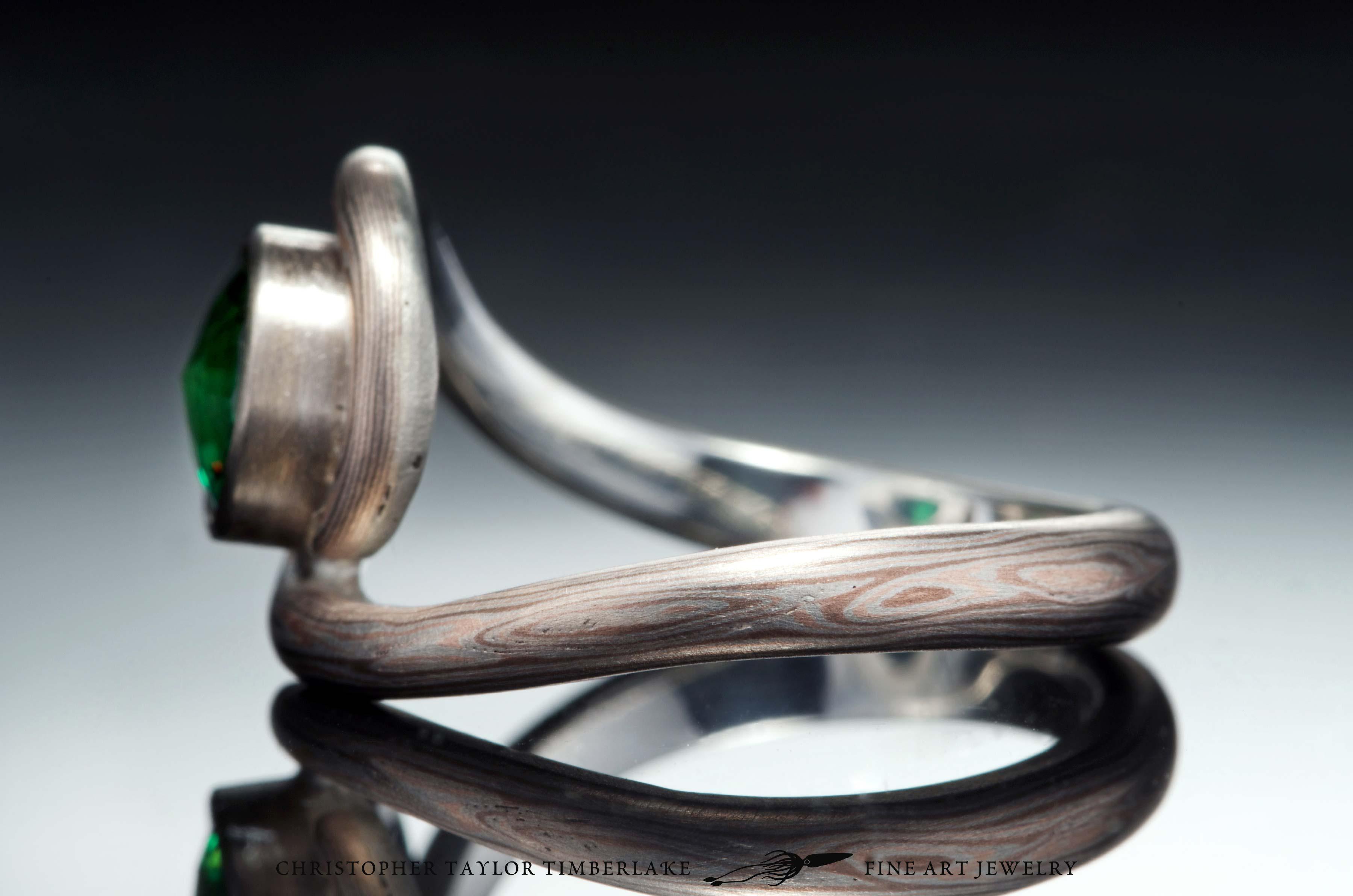 Mokume-(m81)-14-Karat-rose-gold,-shakudo-(2K),-and-sterling-silver-with-Palladium-and-6,31mm-modified-rose-cut-round-chrome-green-tourmaline-5