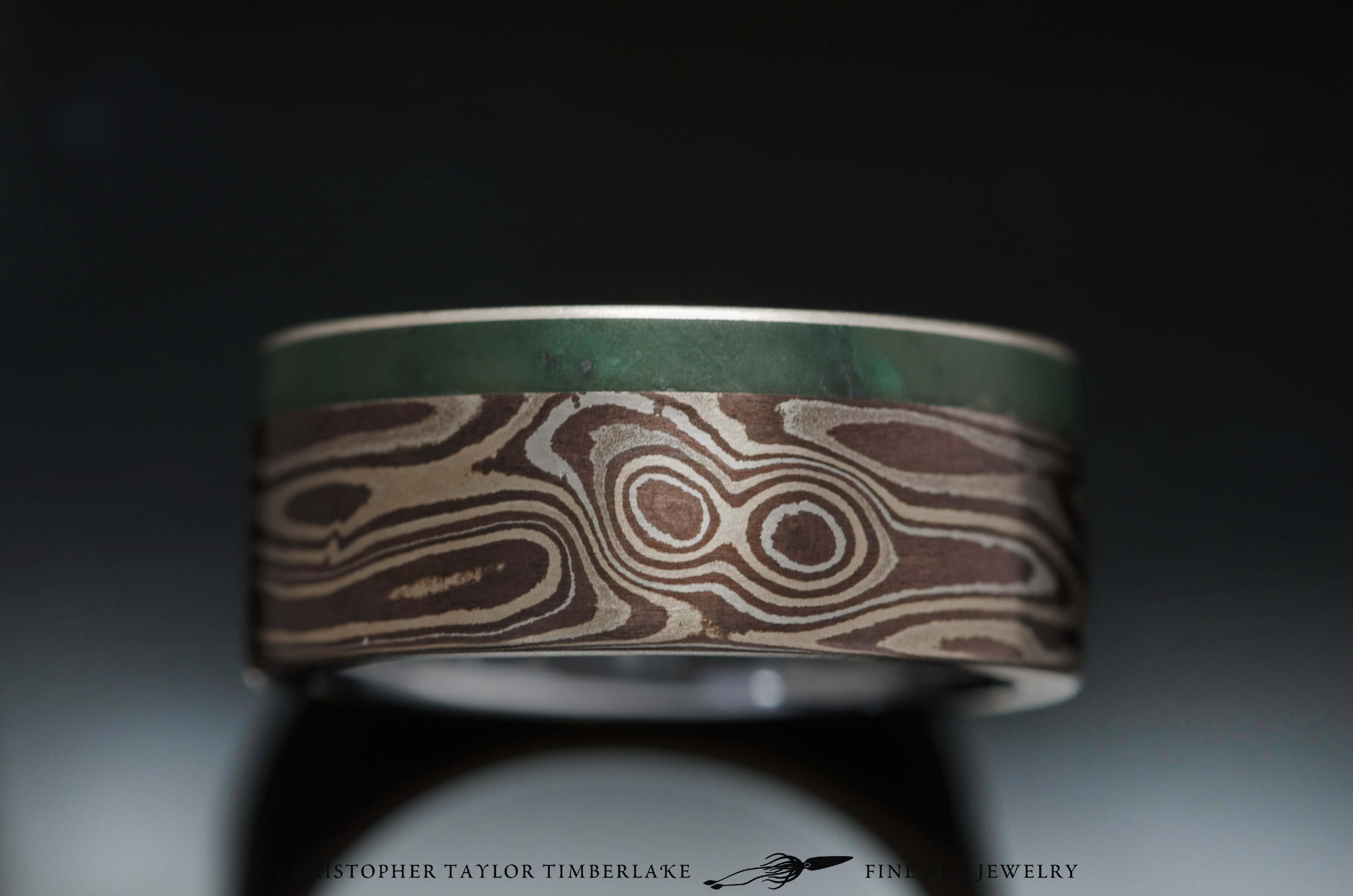 Mokume- sterling silver shakudo kogane steel inner sterling rim 9mm 7 mokume 2 stone 1