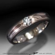 Mokume- sterling silver wpalladium, 14k rose gold 2k red gold with diamond 1
