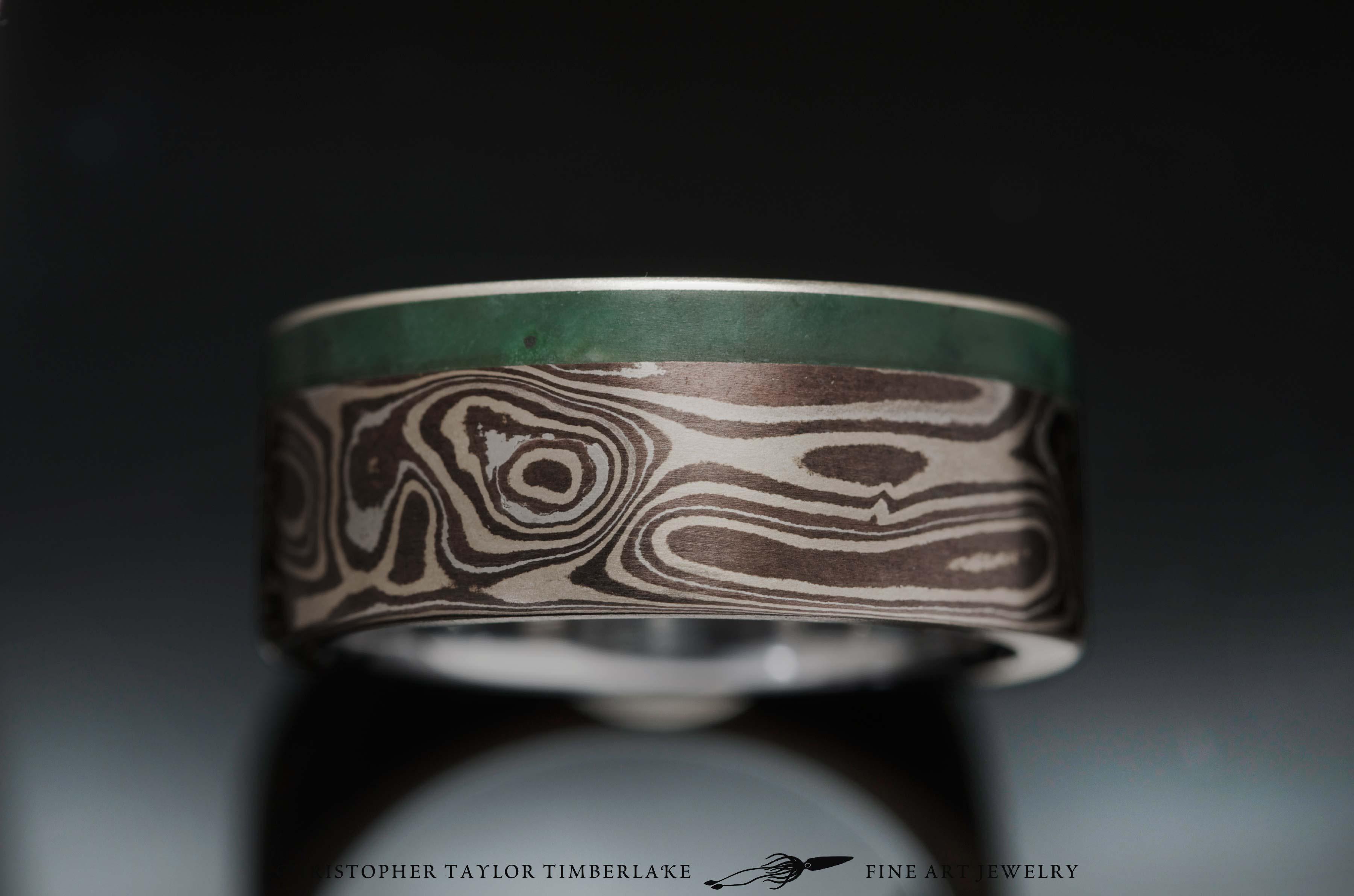 Mokume-with-green-jade