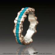 Cuttlefish-Carved-14k-(karat)-Rose-Gold-Sterling-Silver-Inner,-1.75mm-Nacozari-Turquoise-(3-7mm-variable-width)-Ring-4