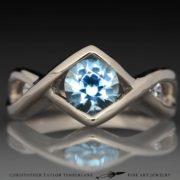 Aquamarine Engagement Ring - aqua engagement ring 14K palladium white gold with white sapphire accent stones