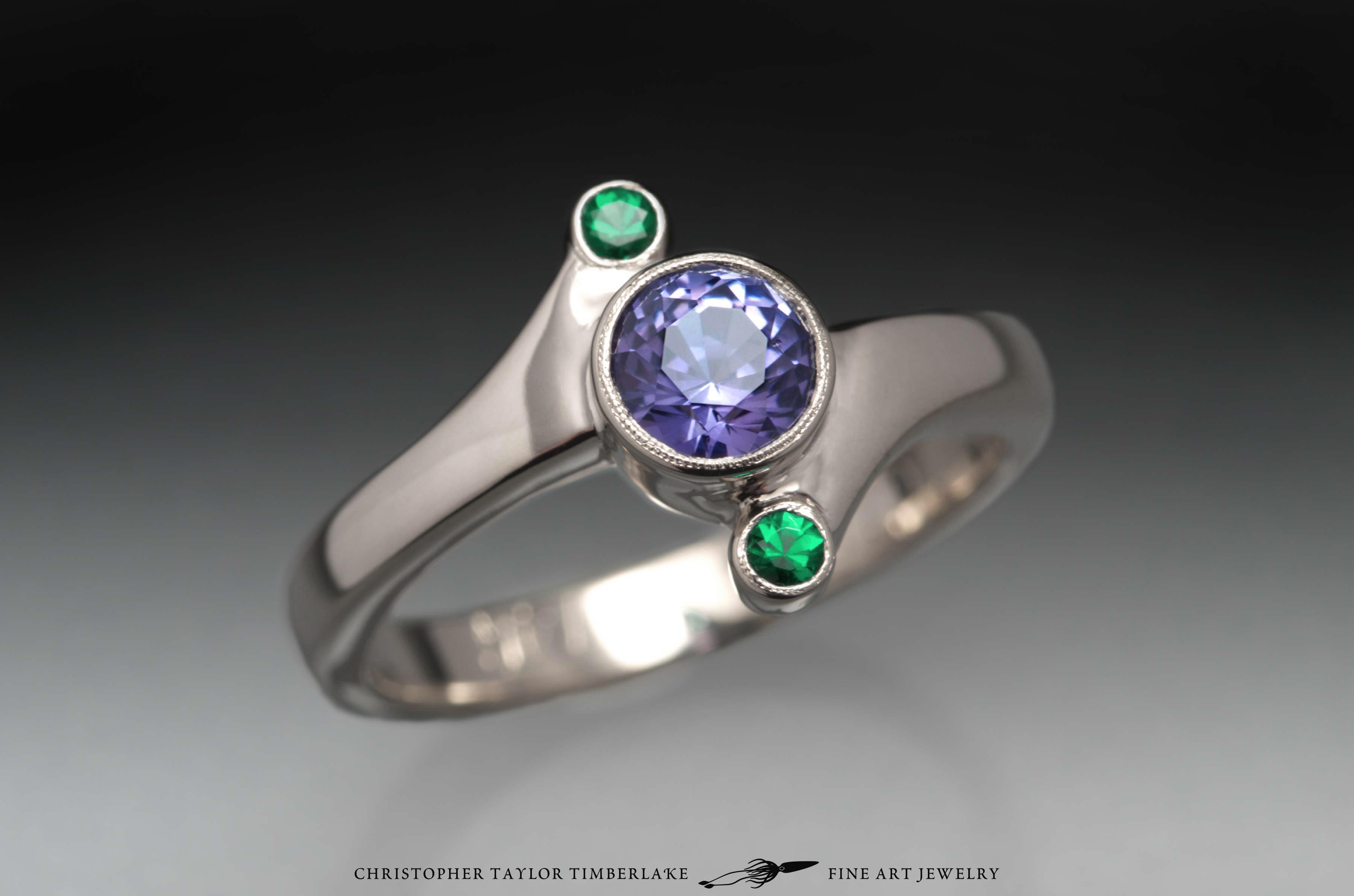 Purple-sapphire-emerald-engagement-ring-14K-karat-super-palladium-white-gold,-0.89CT-5.3mm-round-purple-sapphire-untreated,-2mm-round-emeralds-0.05CTW-5