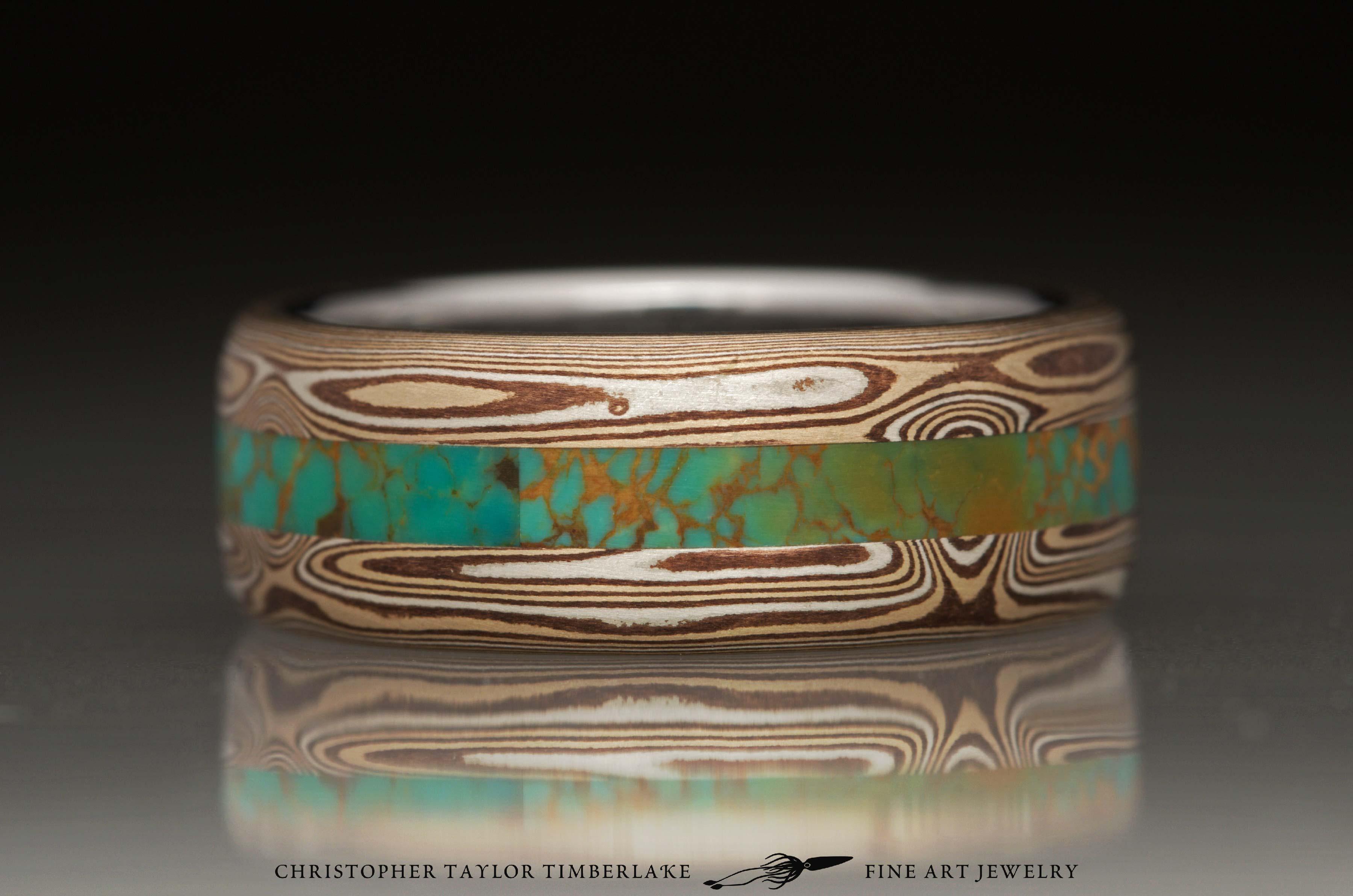 Mokumé, Mokume Gane Ring, M90, sterling silver, shakudo 2k, kogane 3k, turquoise inlay 2.75-2.5-2.75, stainless steel inner band