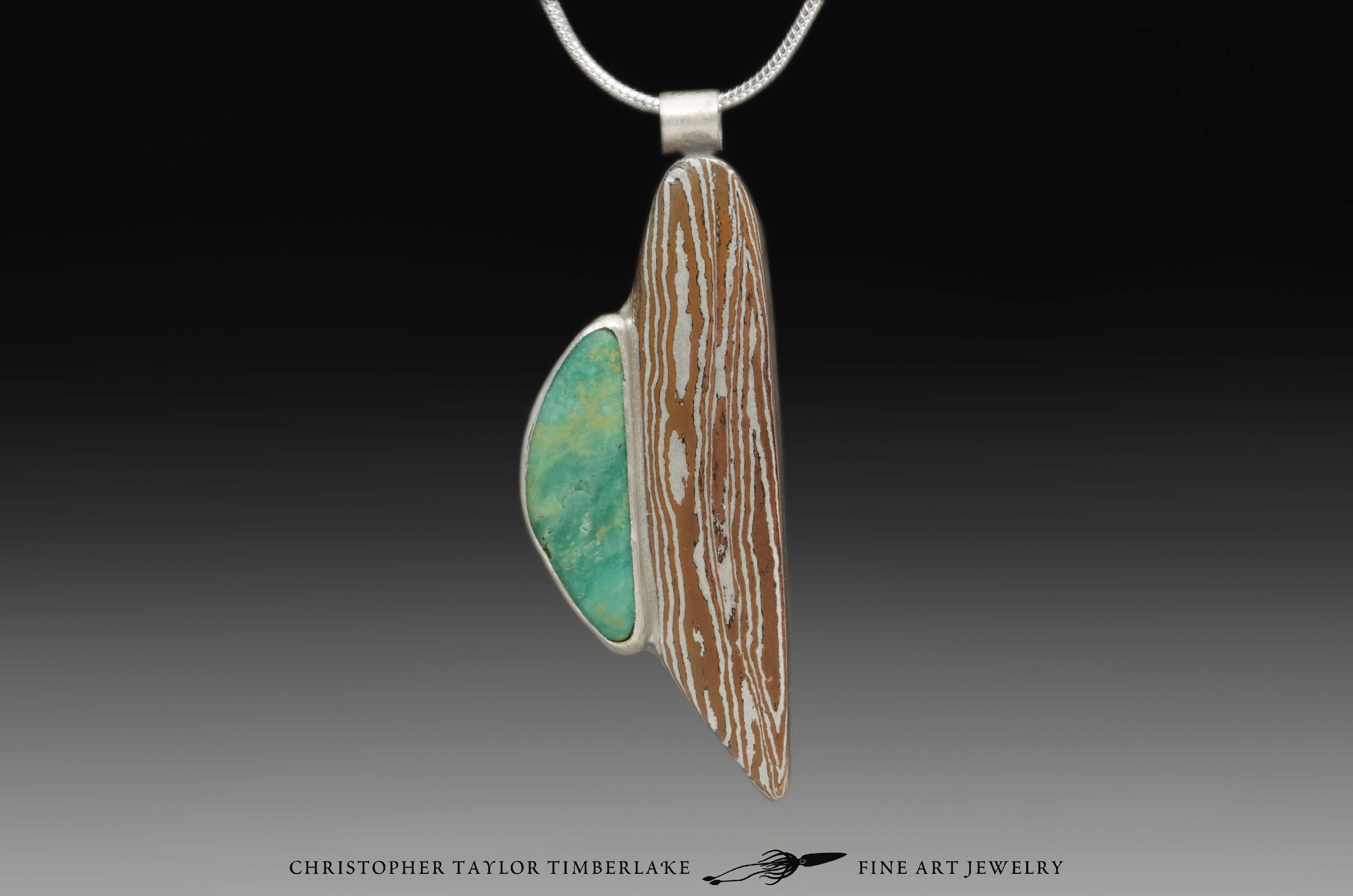Mokum mokume gane pendant m54 sterling silver copper green mokume gane pendant mokum necklace with sterling silver and green turquoise cabochon aloadofball Gallery