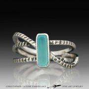 Peruvian Opal Ring - Cuttlefish cast sterling silver peruvian opal ring