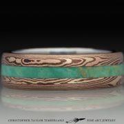 Mokumé-Mokume-Gane-Ring-(M84b)-14K-karat-yellow-gold,-14K-rose-gold,-shakudo-2k,-green-turquoise-inlay,-domed,-river-flow,-stainless-inner-band,-6mm-(2-2-2)--3