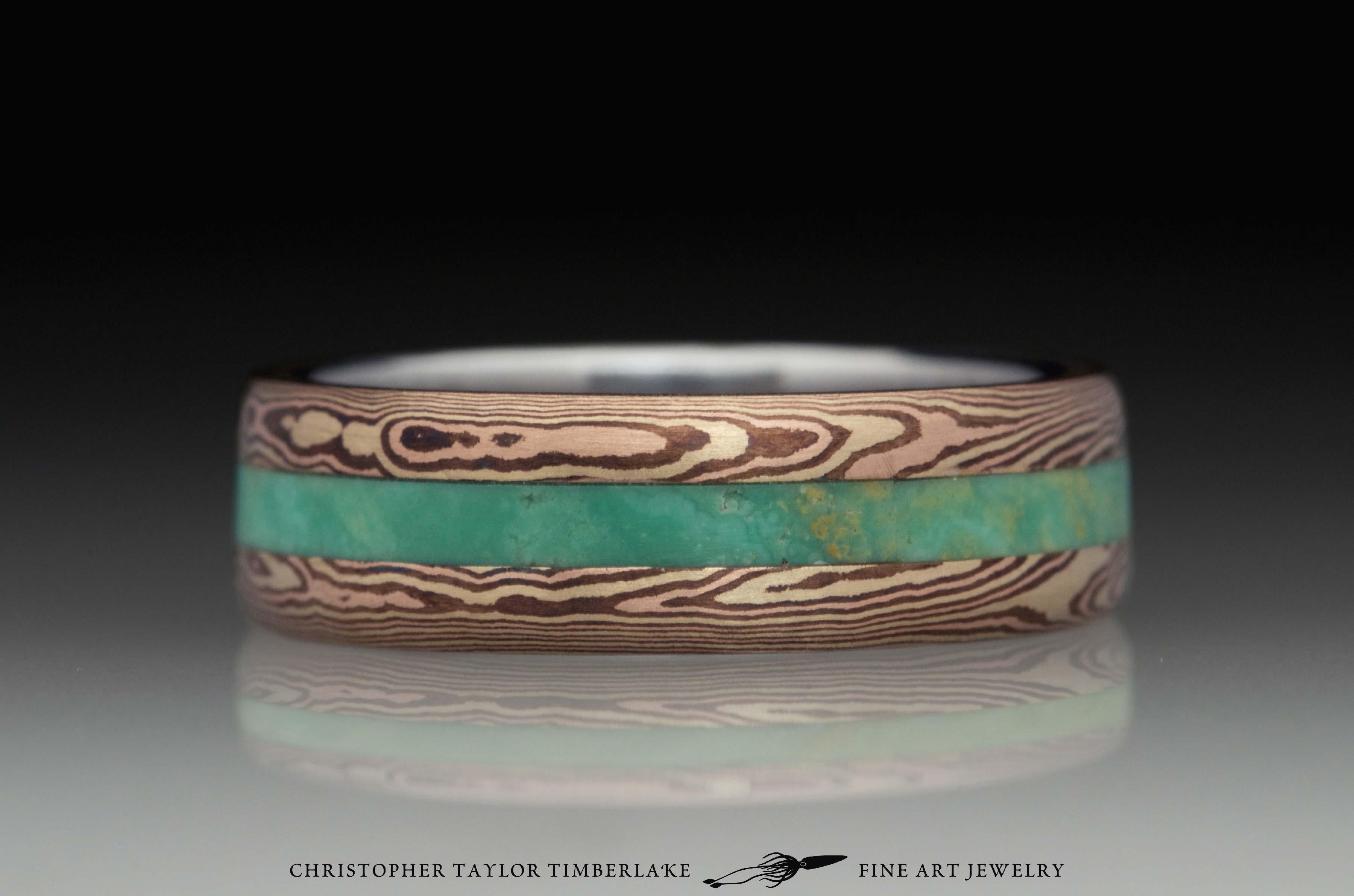 Mokumé-Mokume-Gane-Ring-(M84b)-14K-karat-yellow-gold,-14K-rose-gold,-shakudo-2k,-green-turquoise-inlay,-domed,-river-flow,-stainless-inner-band,-6mm-(2-2-2)–3