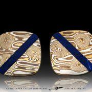 Mokume cufflinks - Mokumé Gane Cufflinks with lapis stone inlay