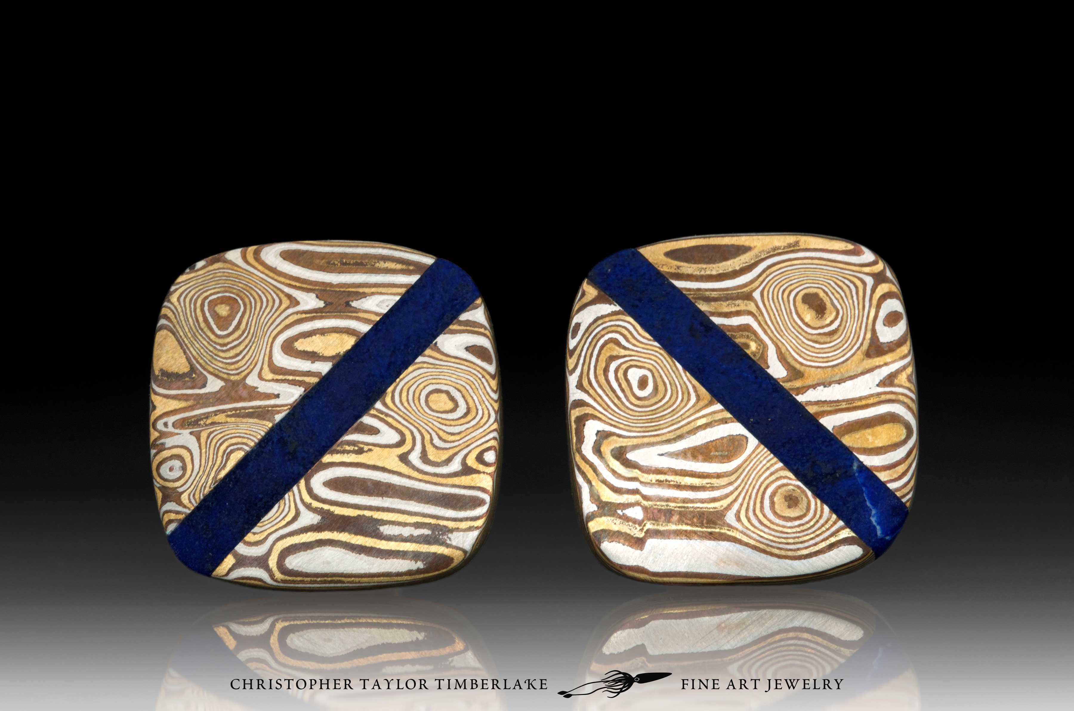 Mokume—Mokumé-Gane-Cufflinks-(M94)-Silver,-copper,-brass-with-lapis-stone-inlay-1