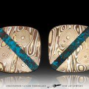 Mokume cufflinks - Mokumé Gane Cufflinks with shattuckite stone inlay