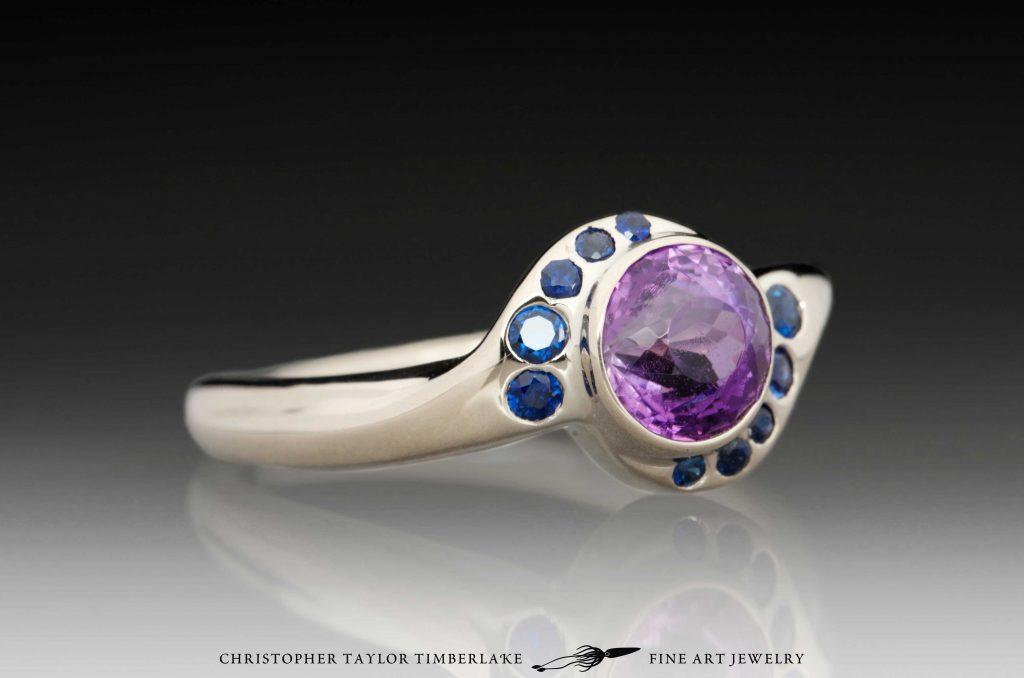 Amethyst And Sapphire 14k Palladium White Gold Ring