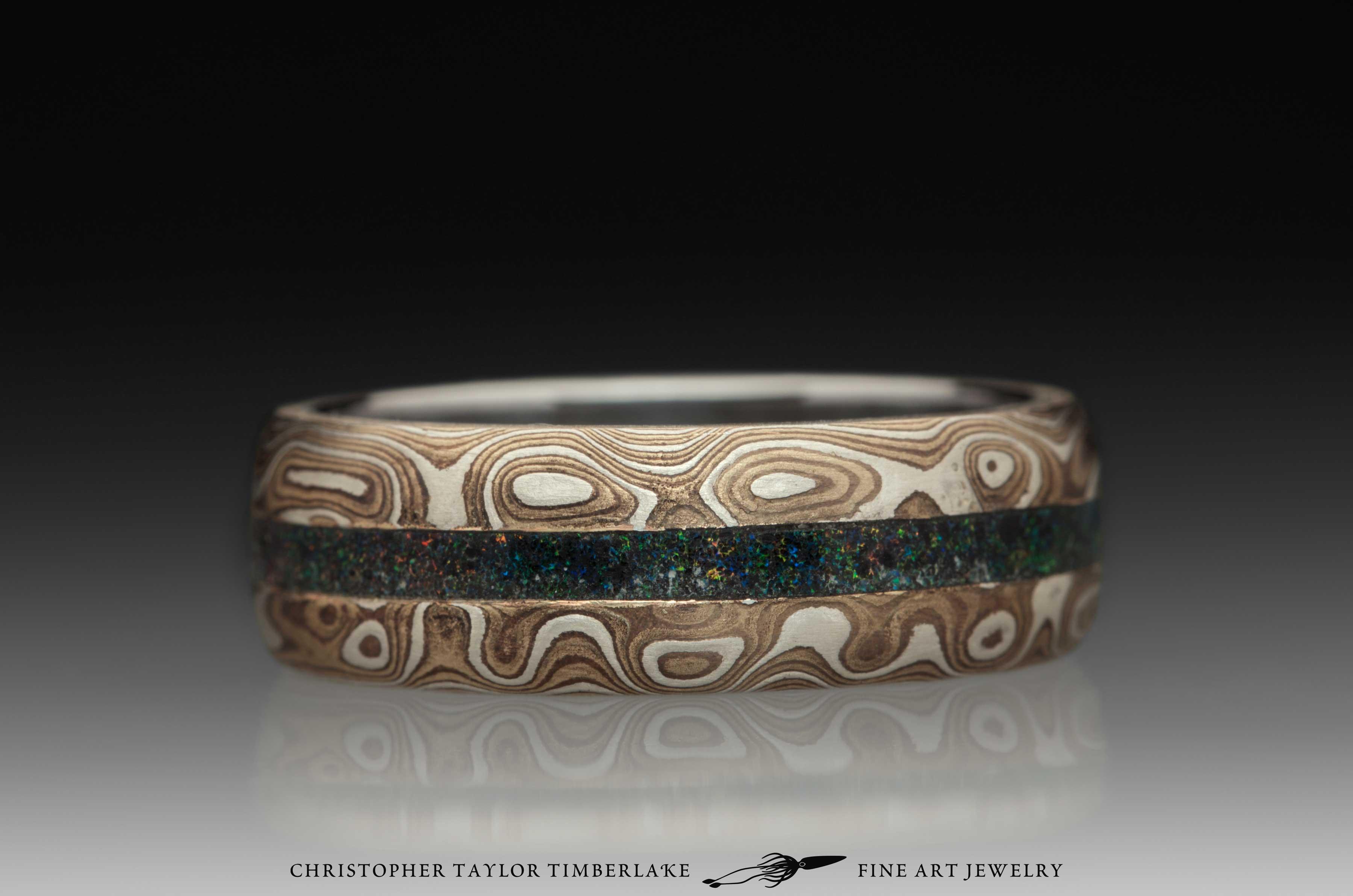 Mokume-Gane-(M104)-Sterling-Silver,-Shakudo-2k,-Kogane-3k,-andamooka-opal-inlay,-burl-wood,-domed,-etched,-stainless-steel-inner-band,-2.75-2-2.75,-7.5mm-2