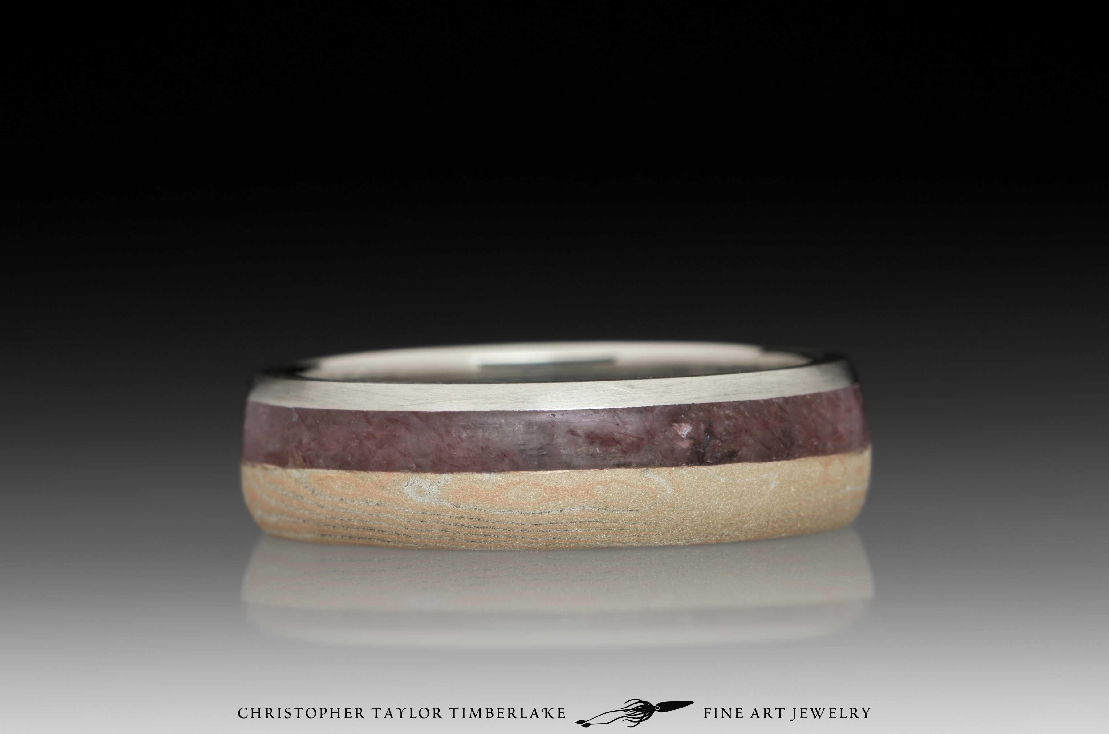 Mokume-Gane-(M75)-14K-karat-rose-gold,-sterling-silver,-raspberry-aventurine,-stainless-steel-inner-band-and-rim,-domed,-river-flow,-sandblasted-finish-(3-2)-5mm-3