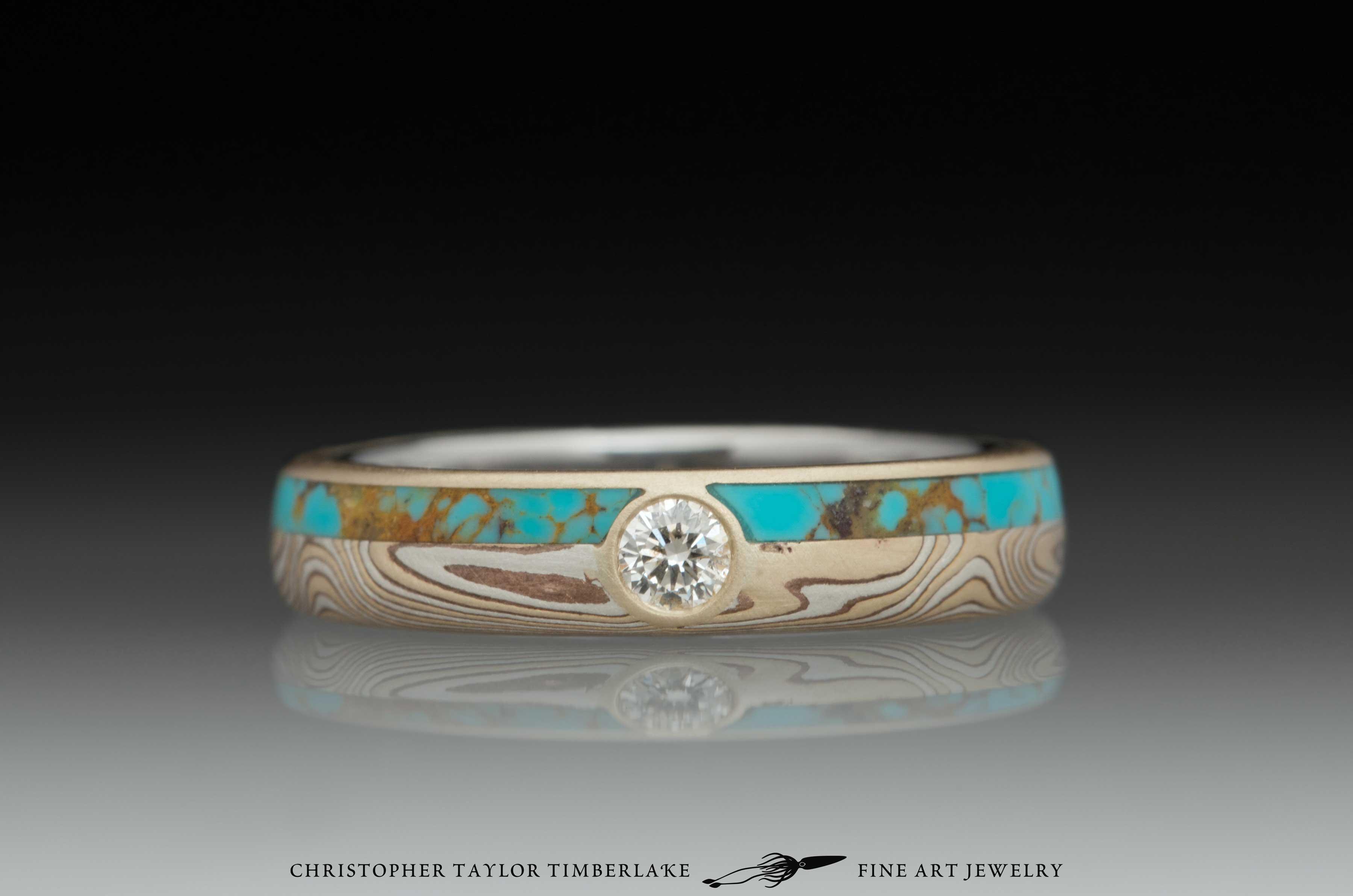Mokume Gane Diamond and Turquoise Ring 1