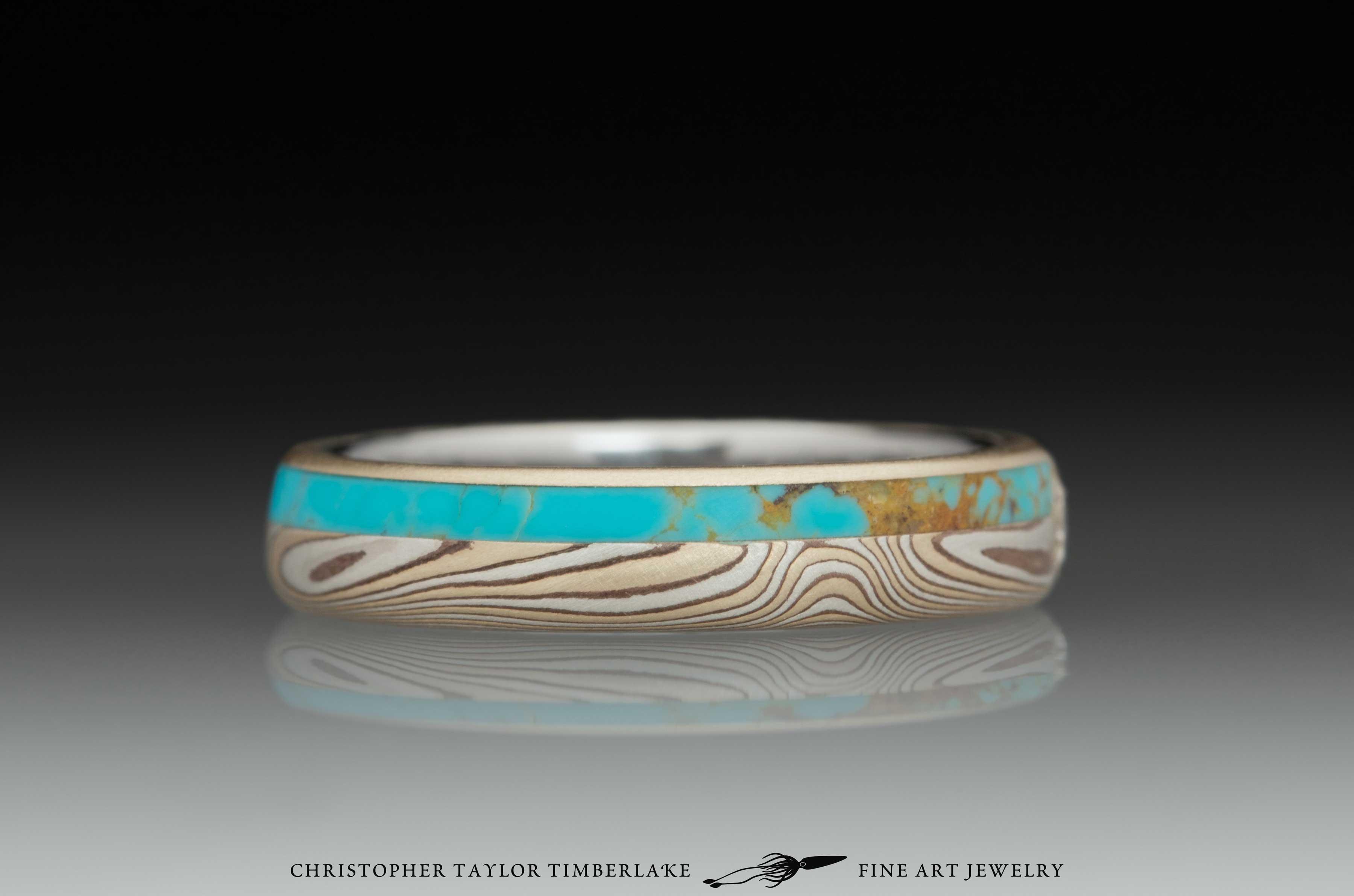 Mokume Gane Diamond and Turquoise Ring 2