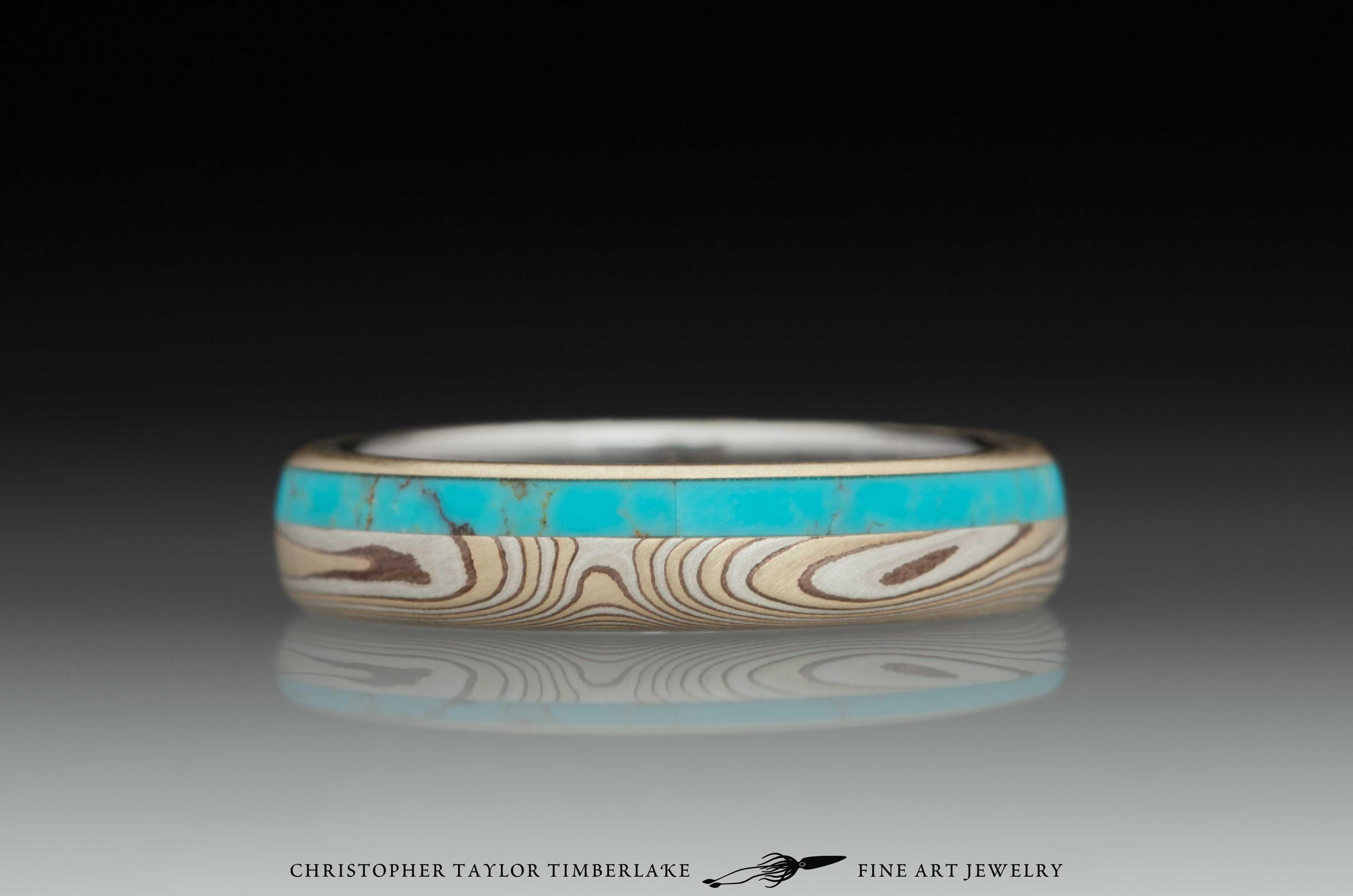 Mokume Gane Diamond and Turquoise Ring 3