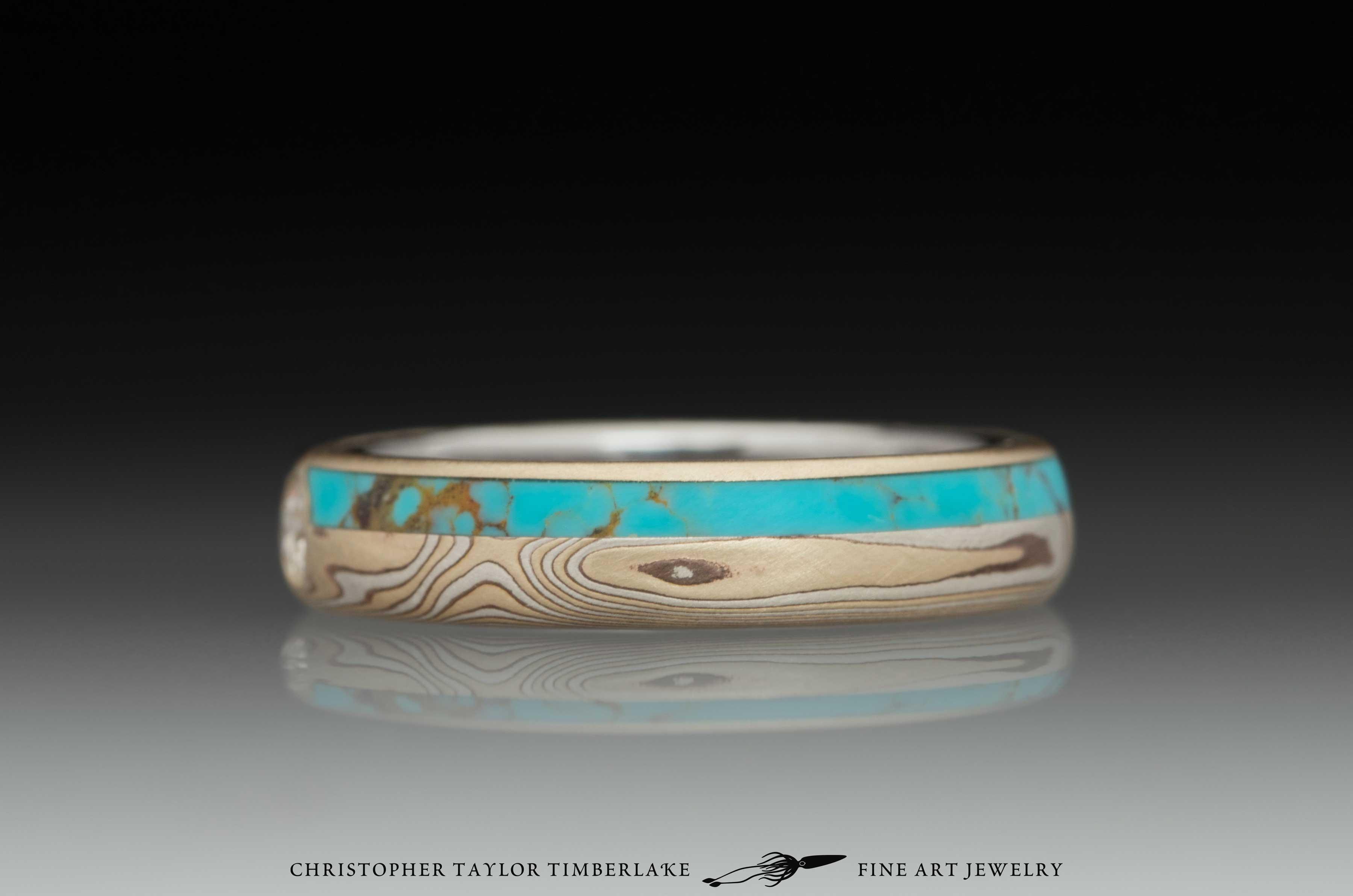 Mokume Gane Diamond and Turquoise Ring 4