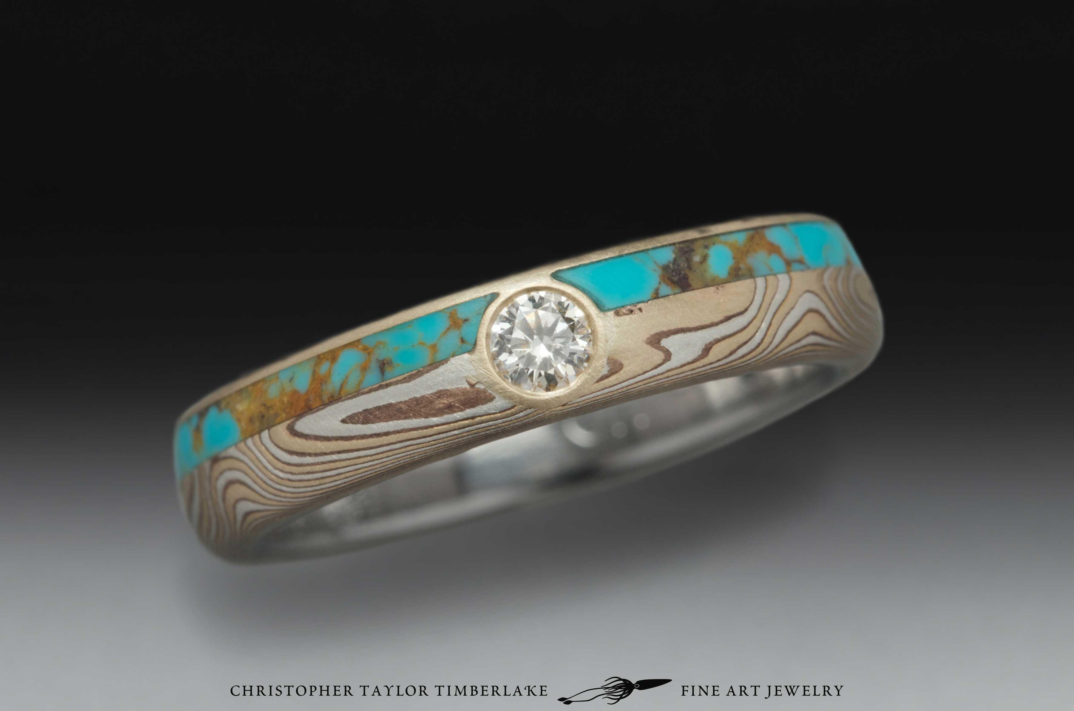 Mokume-Gane-Ring-(M95)-14K-karat-yellow-gold,-sterling-silver,-shakudo,-turquoise-inlay,-bezel-flush-set-diamond-3mm,-4.5-(2.5-1.5-.5)-domed,-woodgrain,-etched,-stainless-steel-inner-band-5