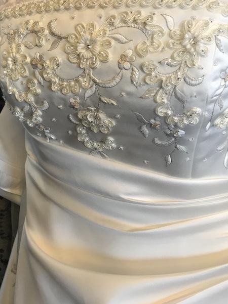 Wedding dress detail Christopher Taylor Timberlake Fine Art Jewelry