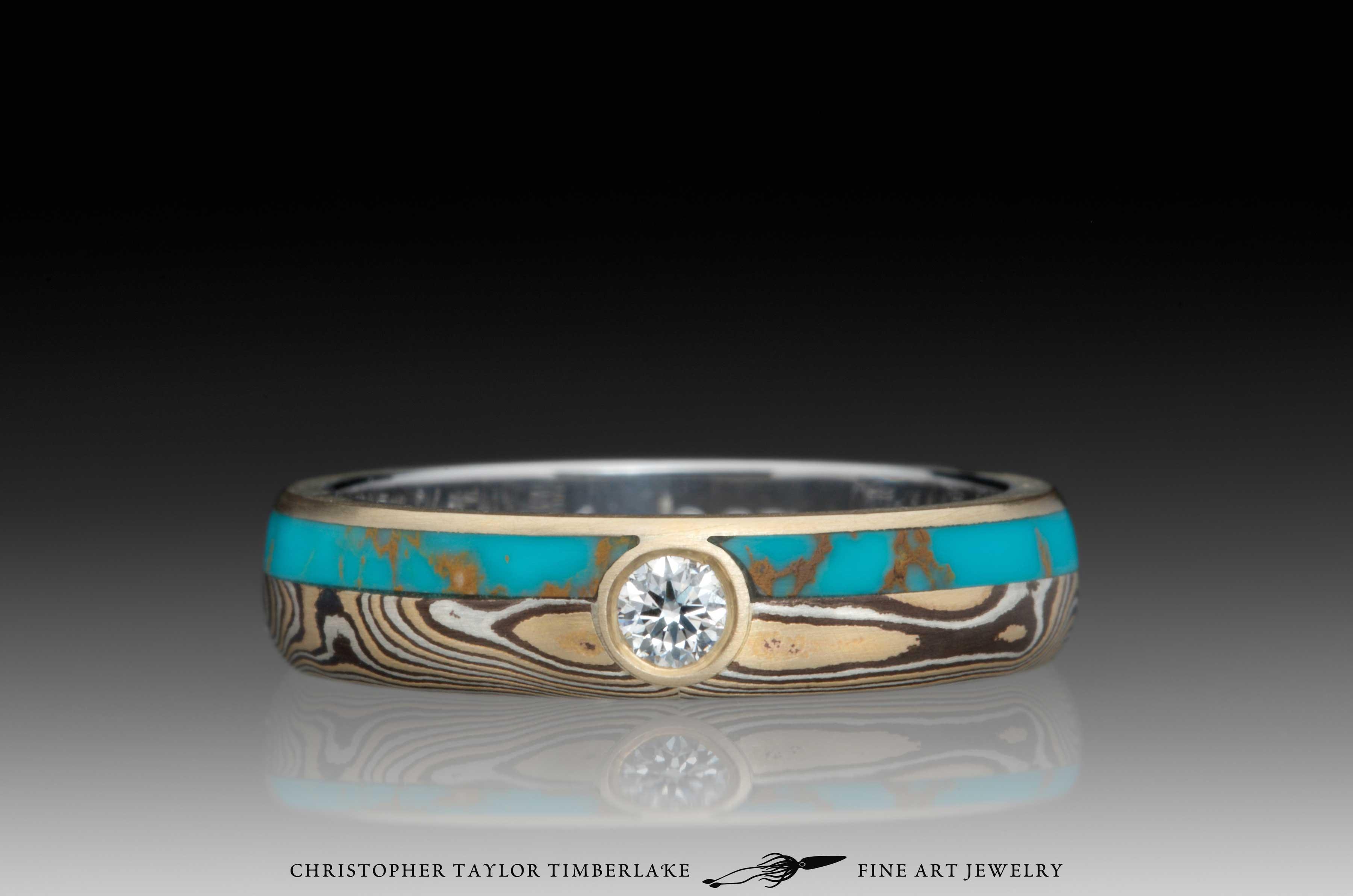 Mokume-Gane-(M110)-Turquoise-and-Canadian-diamond-ring-1