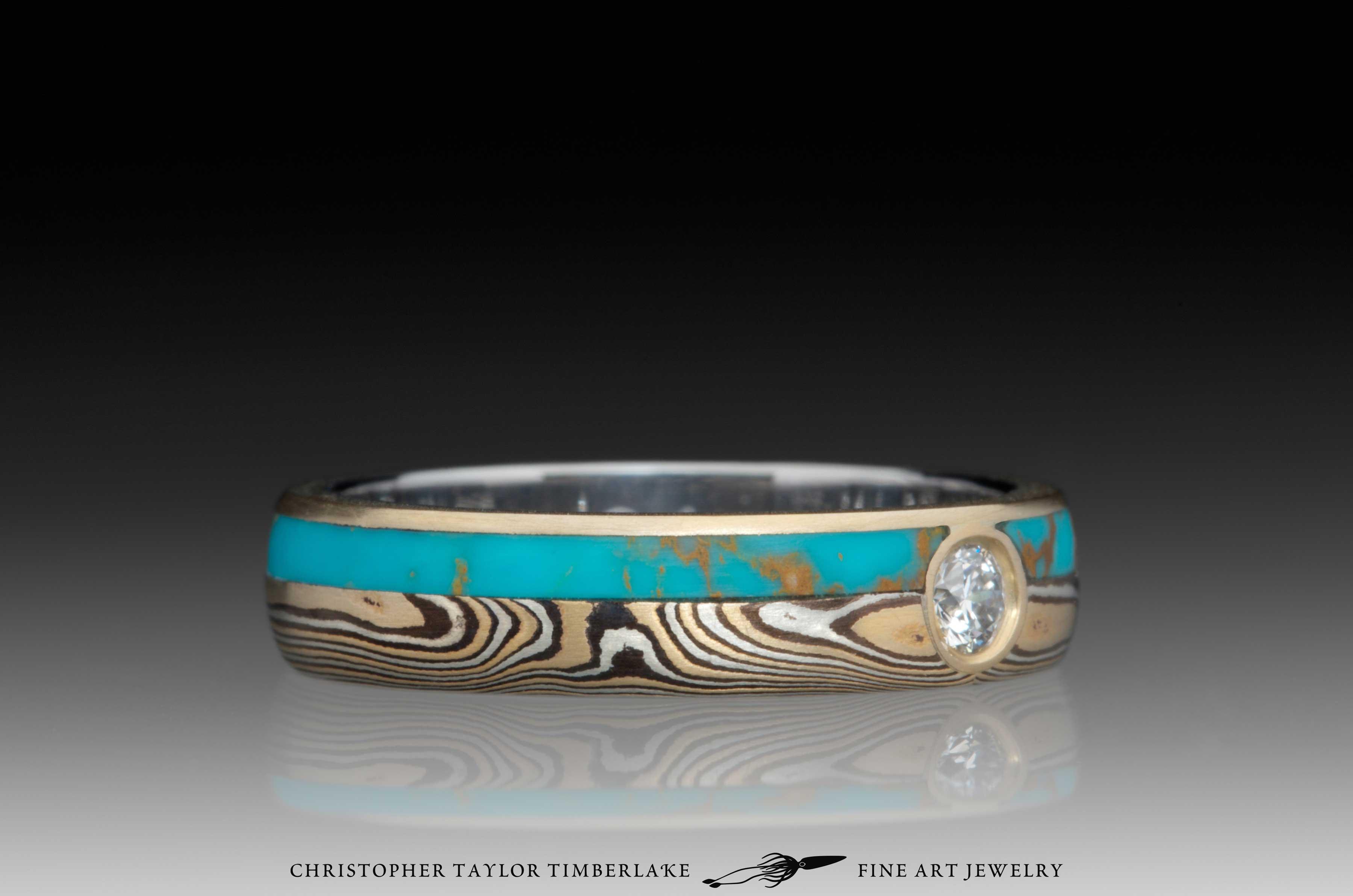 Mokume-Gane-(M110)-Turquoise-and-Canadian-diamond-ring-2