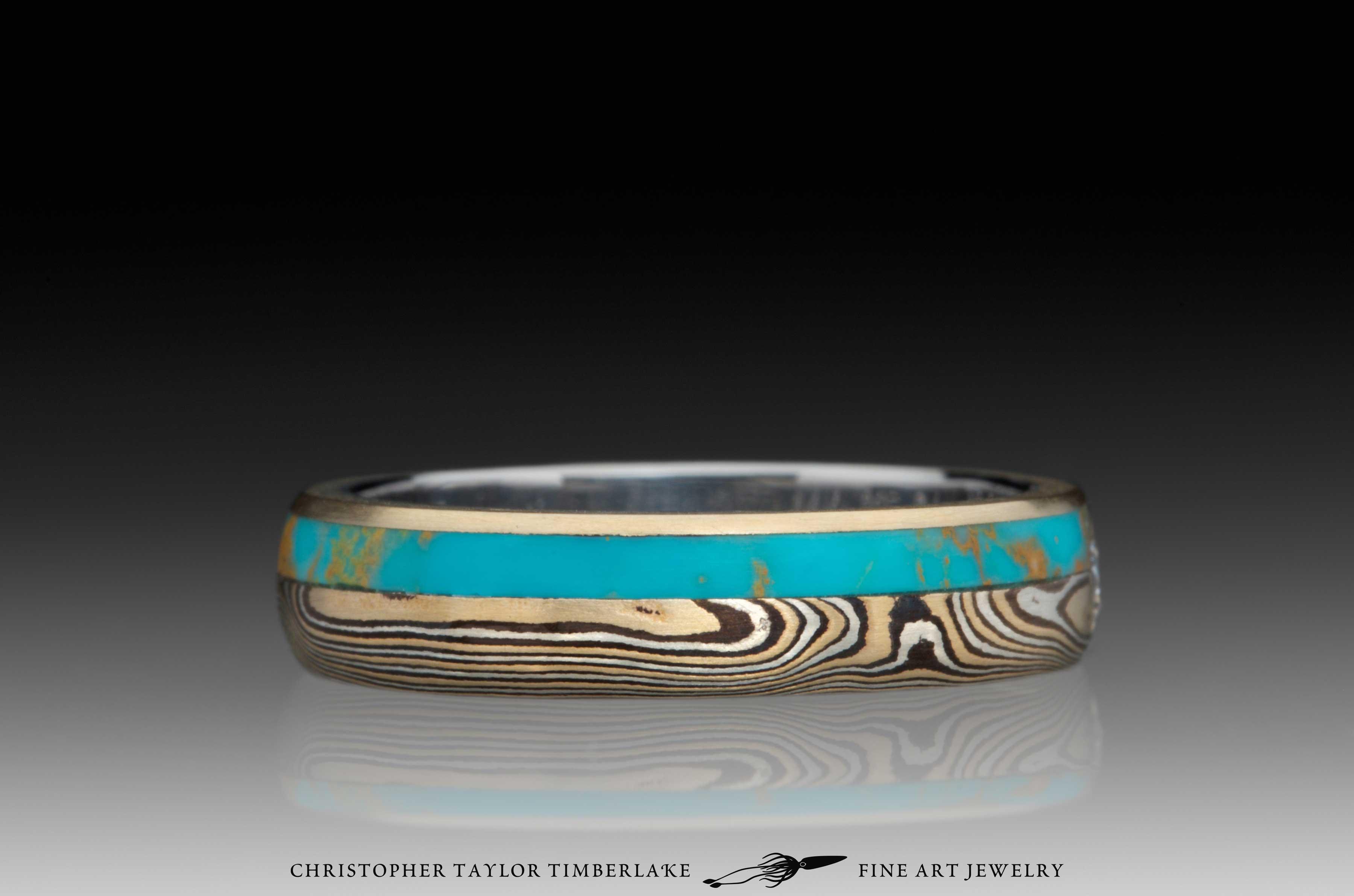 Mokume-Gane-(M110)-Turquoise-and-Canadian-diamond-ring-3