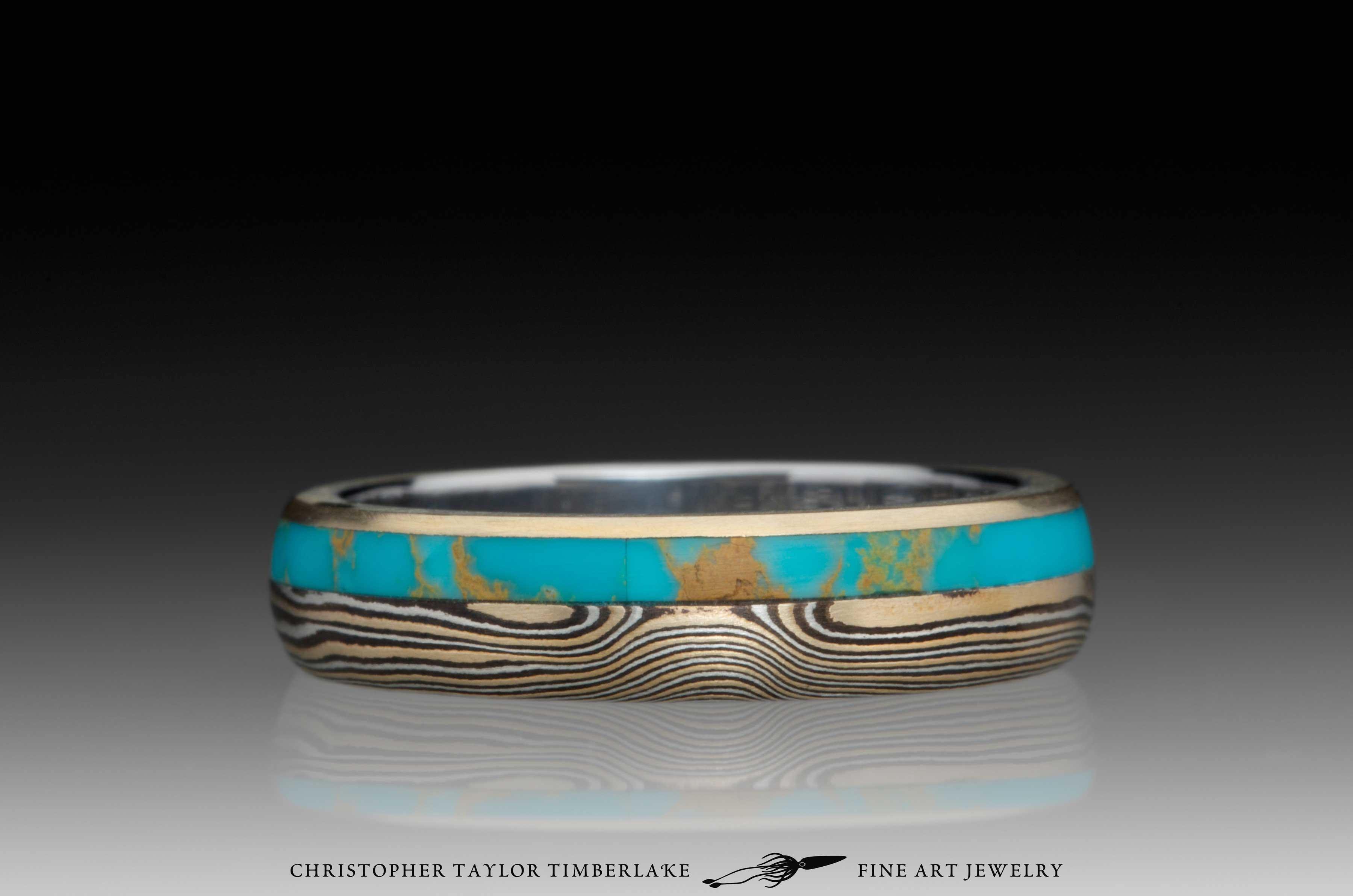 Mokume-Gane-(M110)-Turquoise-and-Canadian-diamond-ring-4