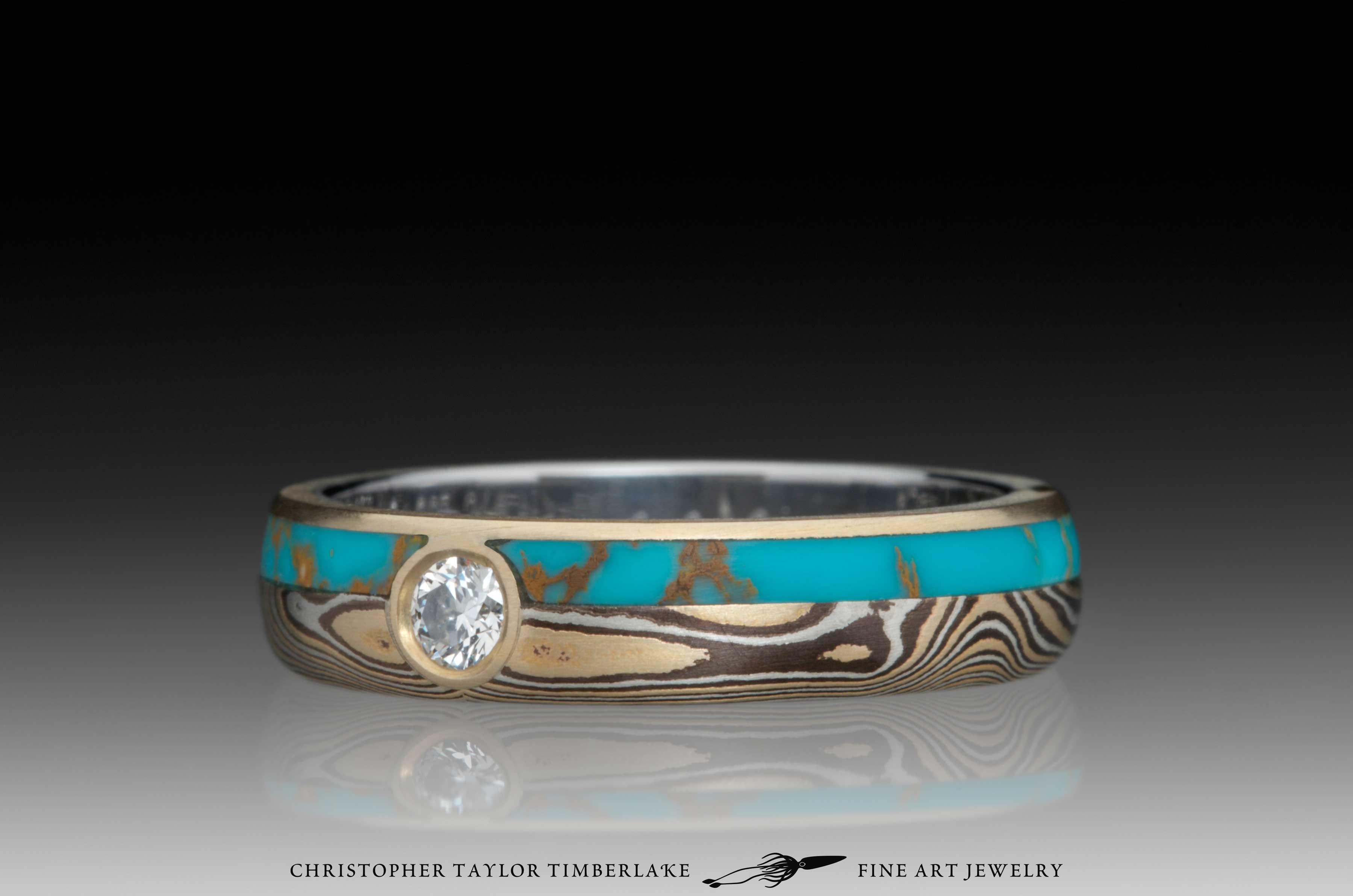 Mokume-Gane-(M110)-Turquoise-and-Canadian-diamond-ring-5