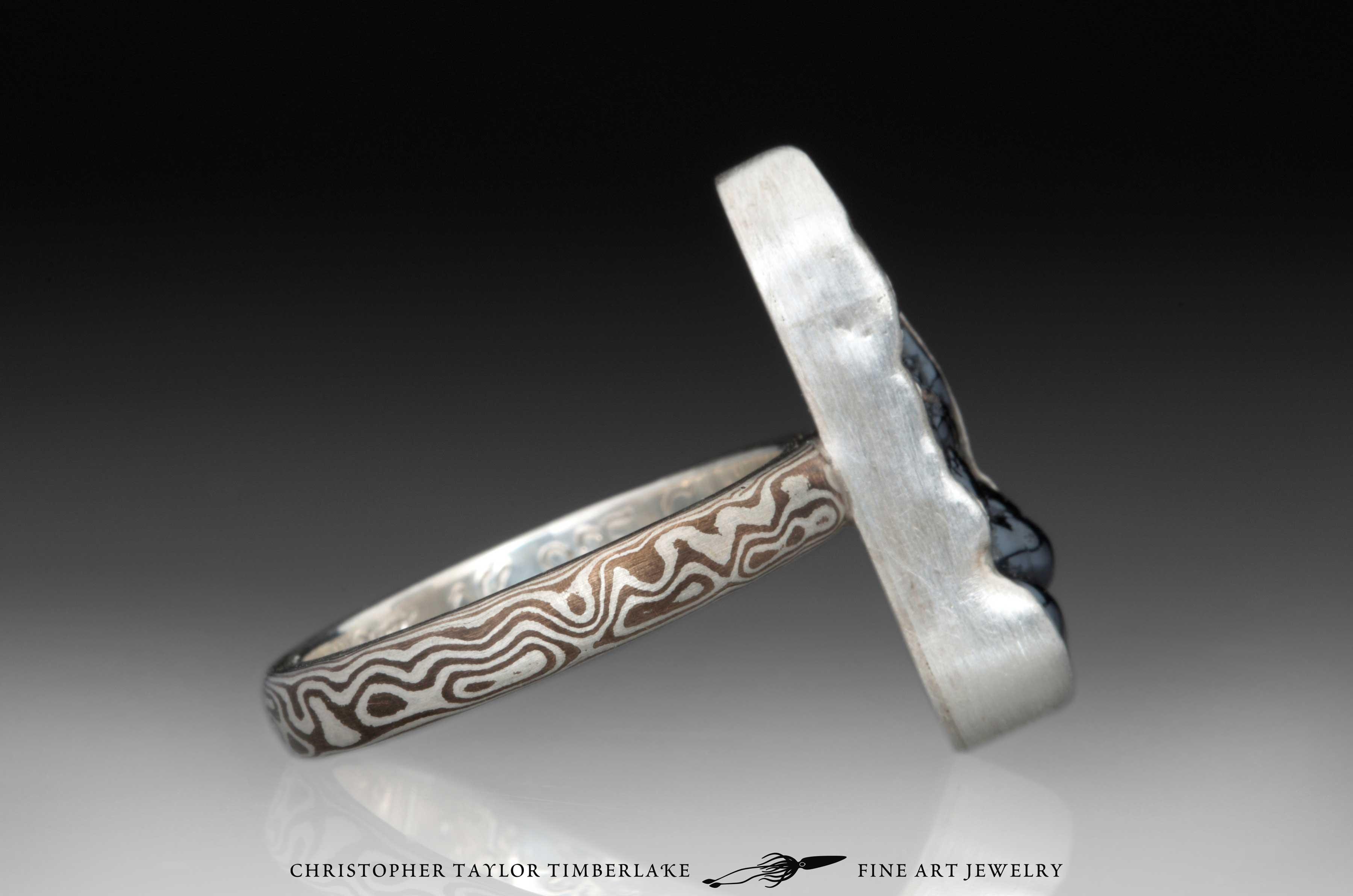 Mokume-Gane-(M55)-sterling-silver,-shakudo,–elongated-oval-hematite-cabochon-2