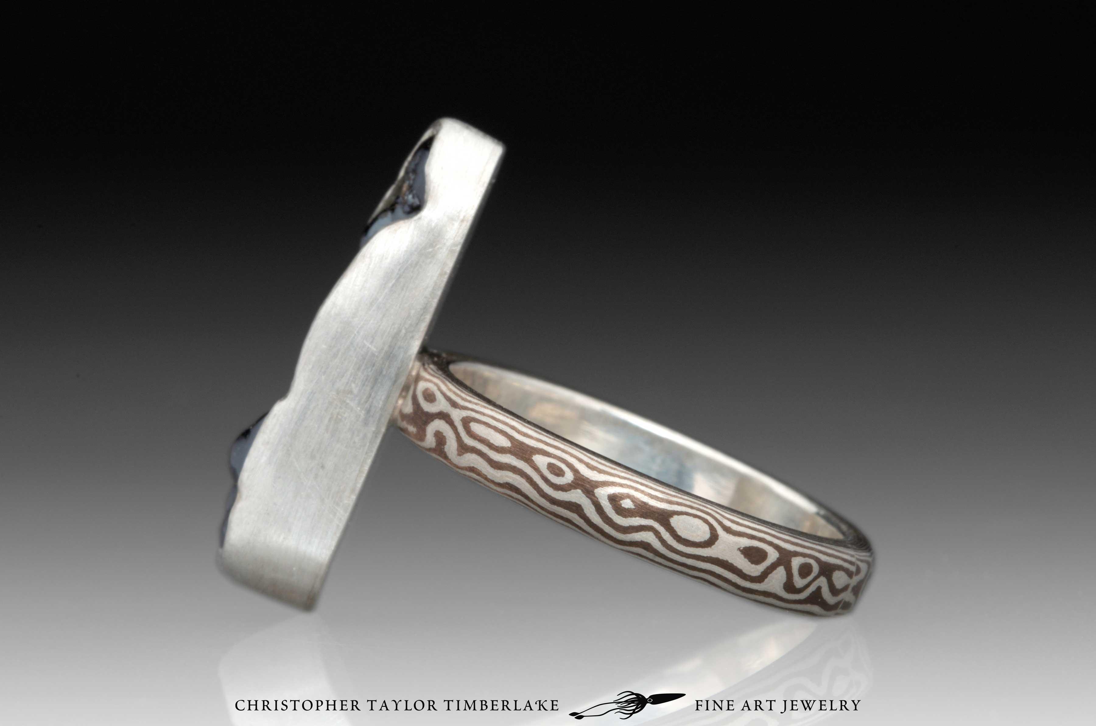 Mokume-Gane-(M55)-sterling-silver,-shakudo,–elongated-oval-hematite-cabochon-4