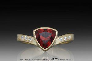 zircon ring - red zircon and diamond ring with 18k karat yellow gold