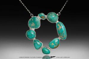turquoise necklace - freeform turquoise cabochon circle necklace