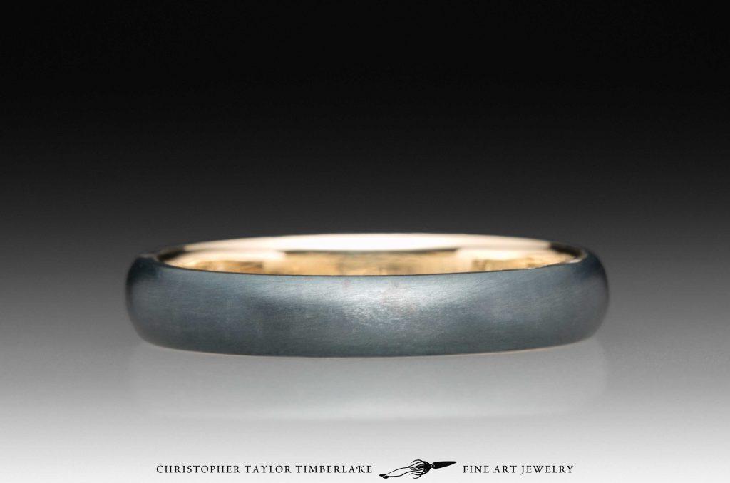 Meteorite And Gold Kintsugi Ring Christopher Taylor