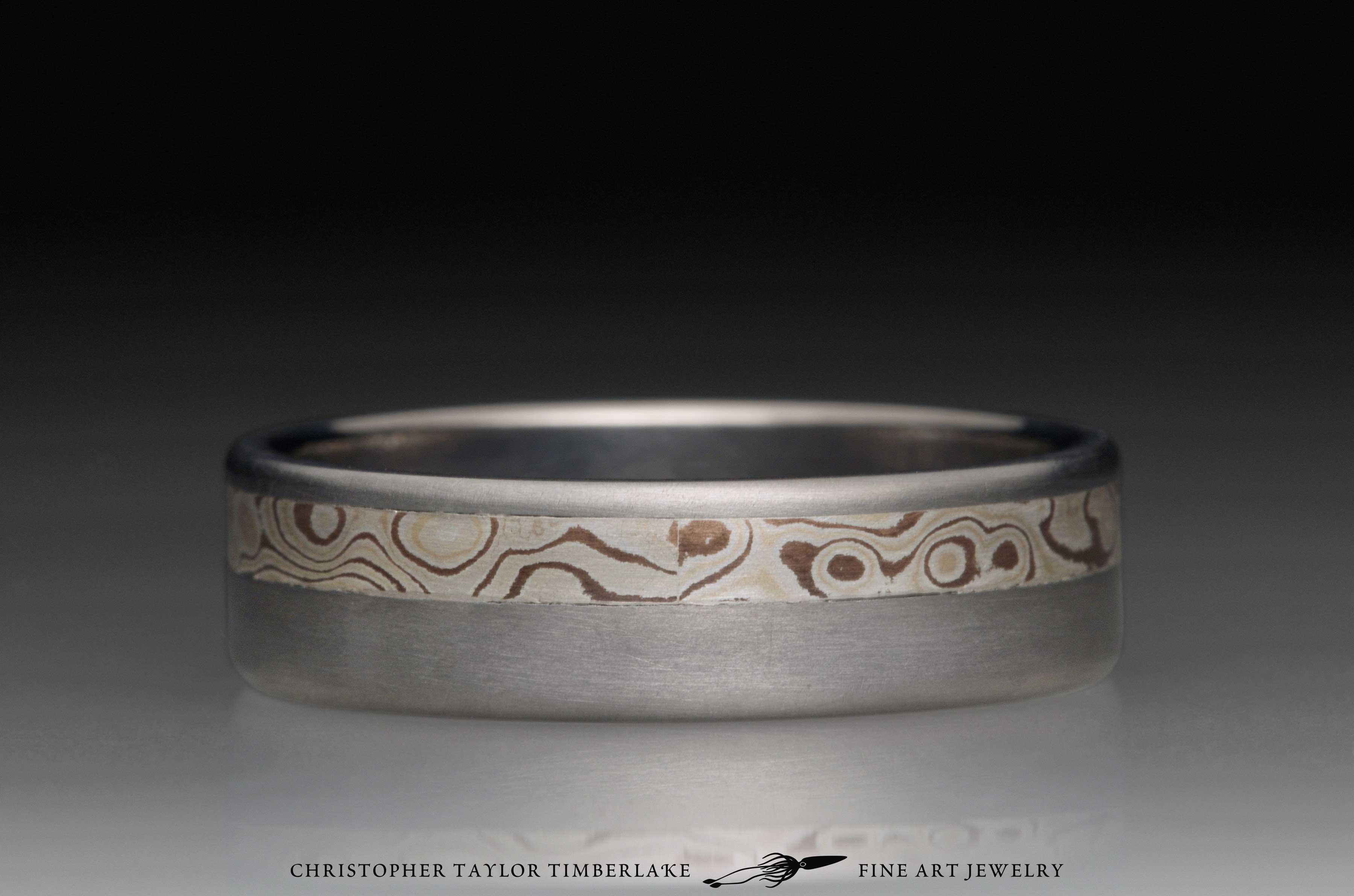 Mokume gane sterling silver, shakudo, and kogane inlay channel in titanium, 6.5mm (3.25-2.25-1) 3