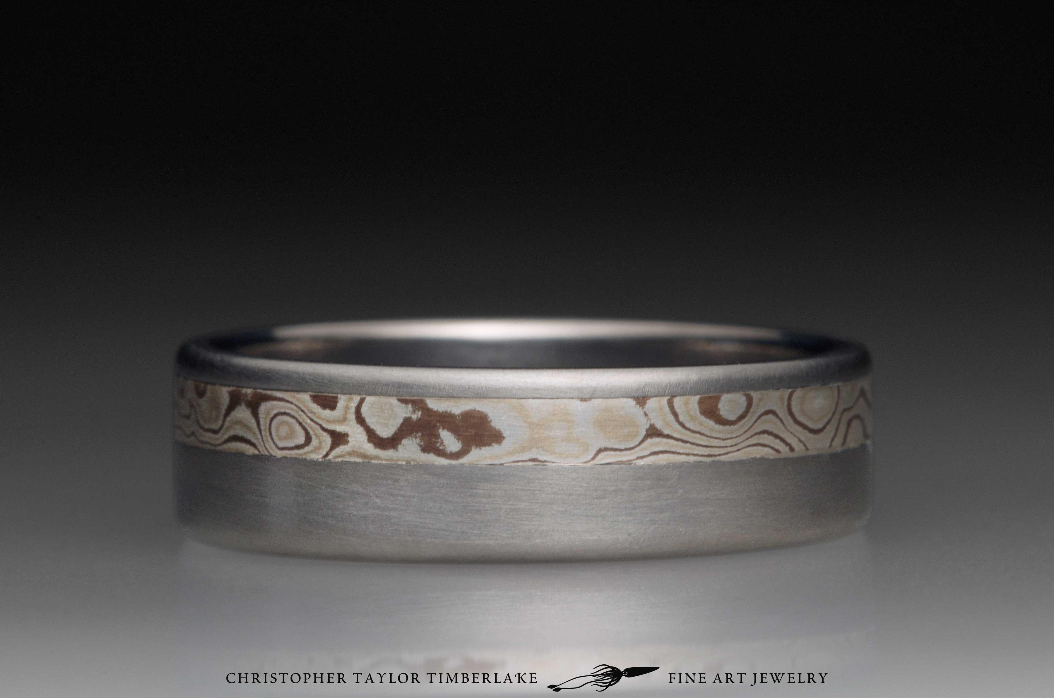 Mokume gane sterling silver, shakudo, and kogane inlay channel in titanium, 6.5mm (3.25-2.25-1) 4